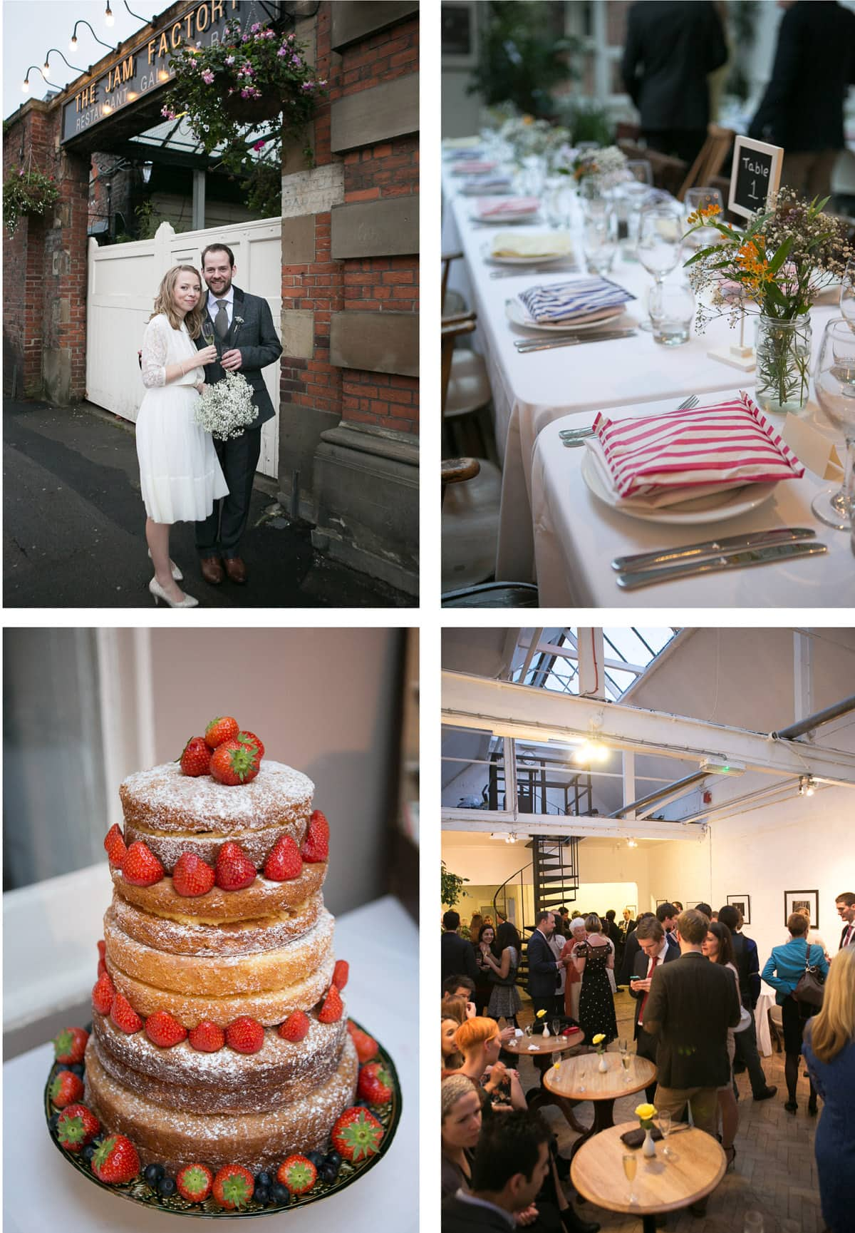 Collage of images of a wedding at Oxford's The Jam Factory