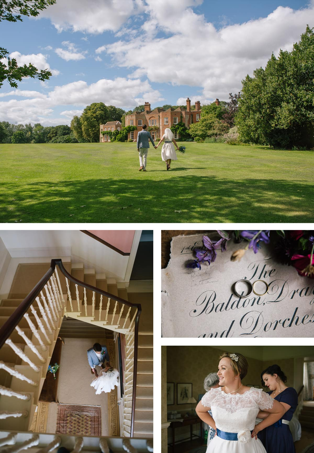 Collage of images of bride getting ready at 18th Century Oxfordshire manor house Baldon House