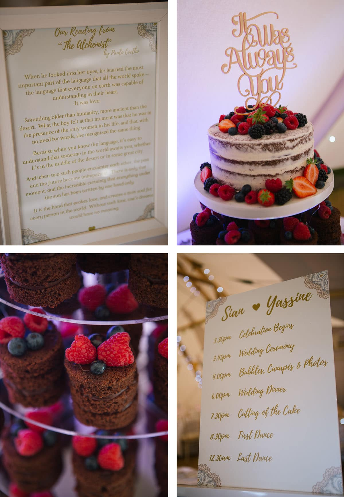 Selection of details from quirky Moroccan inspired wedding. Framed wedding reading, naked cake with cake topper, mini chocolate cakes and order of the day
