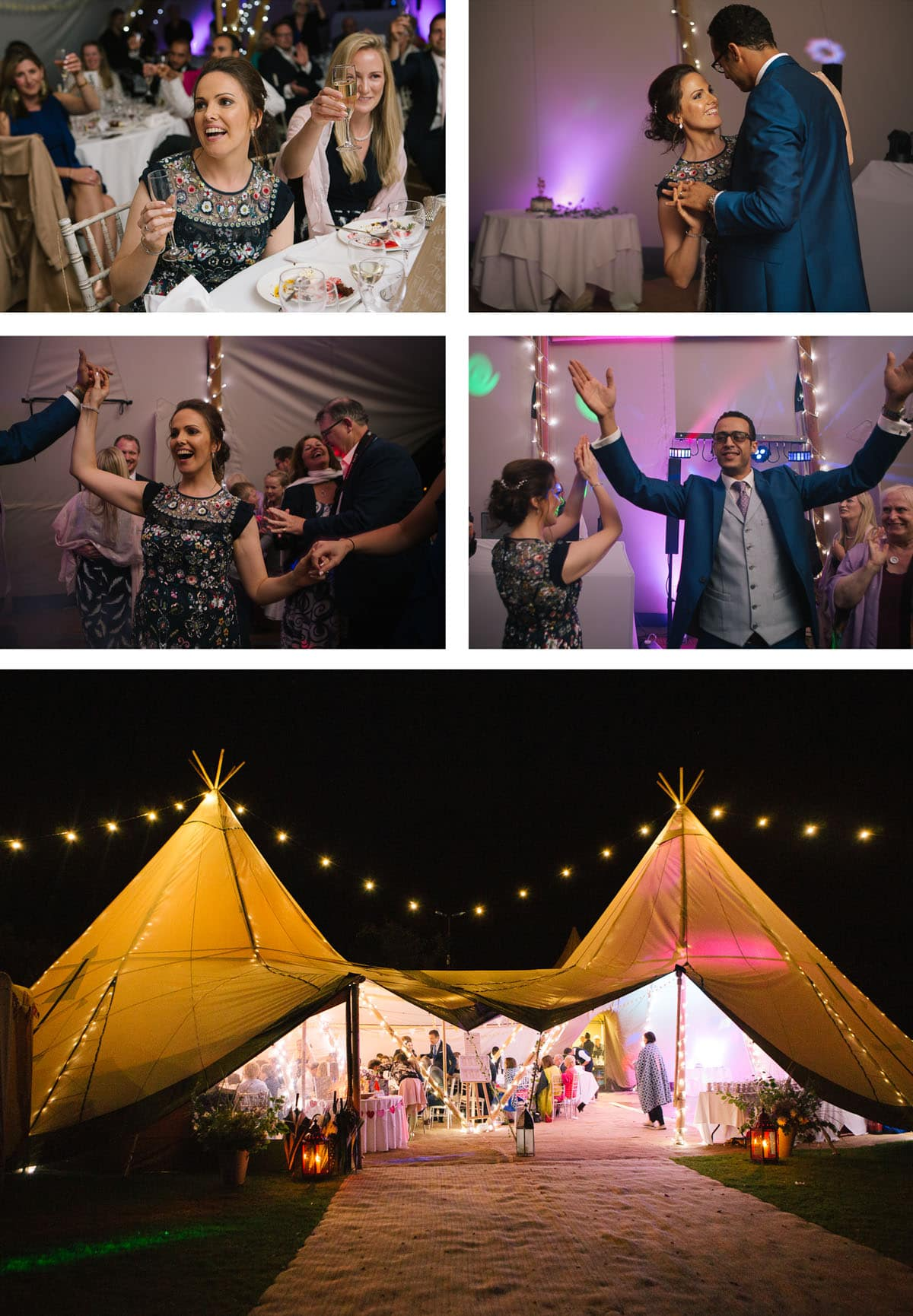 Collage of images of bride and groom on dancefloor and teepee at night