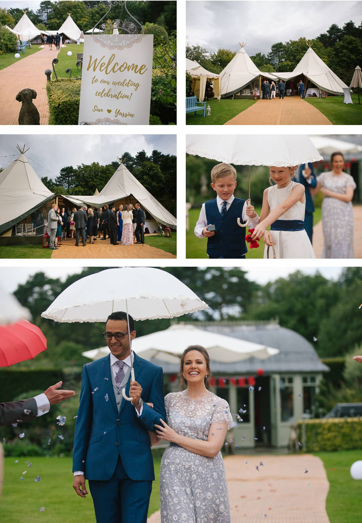 A collage of images showing the arrival of guests at this quirky Moroccan inspired teepee wedding. The bride wears a light blue dress.