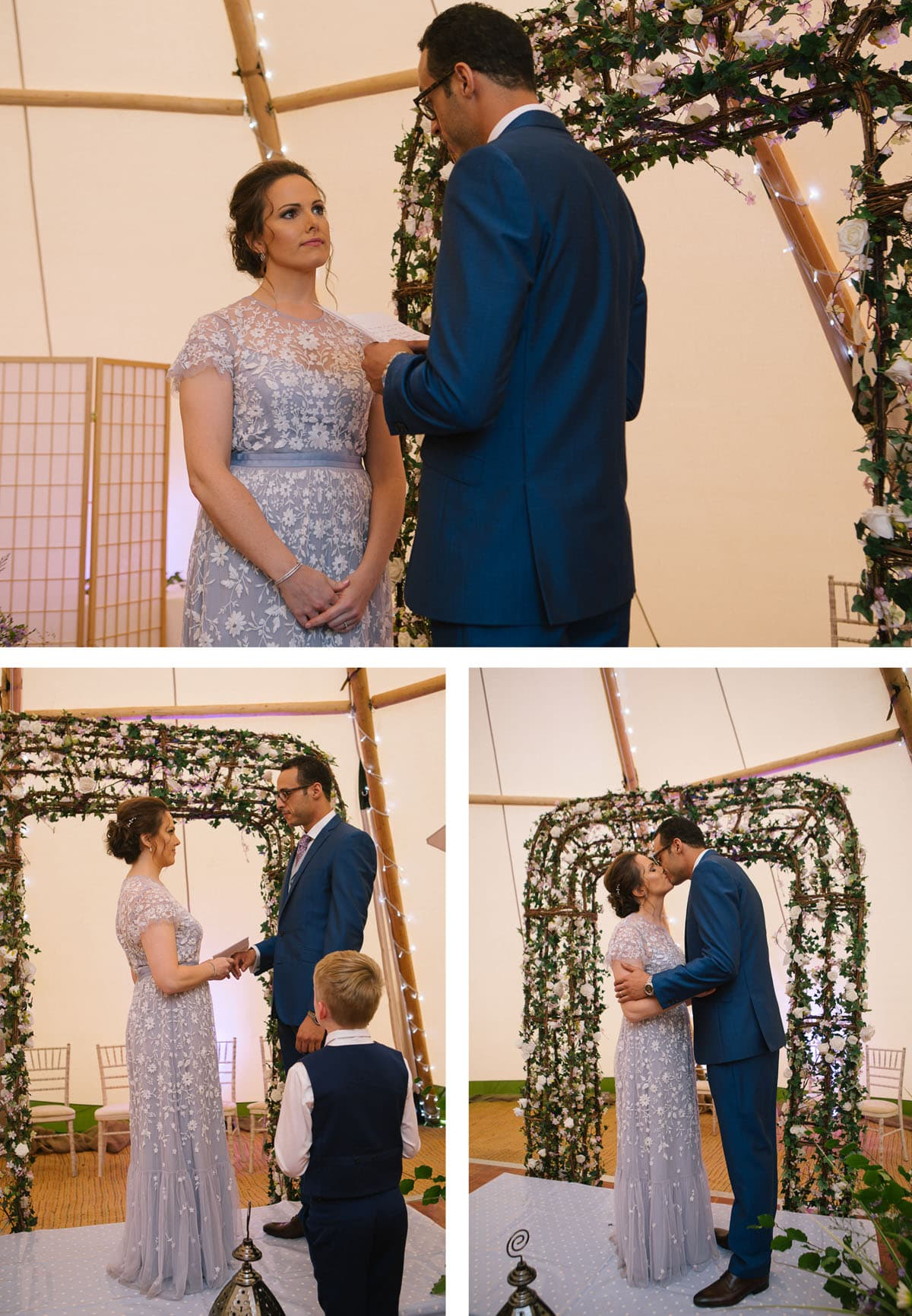 Collage of images of the wedding blessing inside the teepee