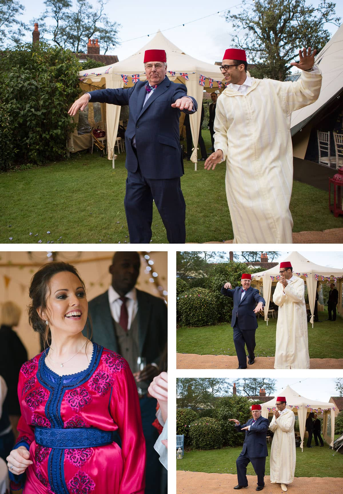 Father of the bride does funny dance off with his new son-in-law, both wearing fezzes