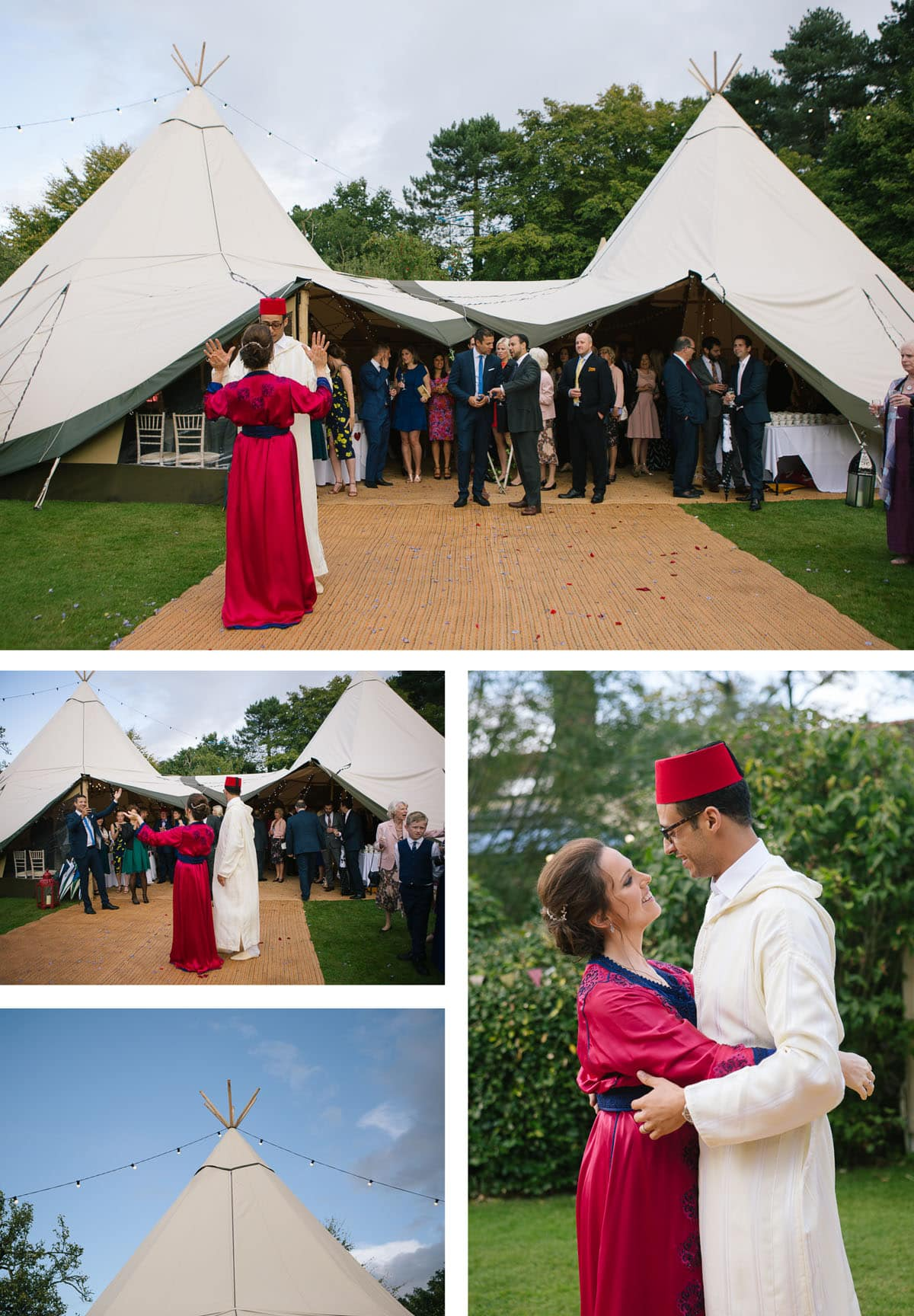 Collage of images of bride and groom dancing in traditional Moroccan dress next to wedding teepee