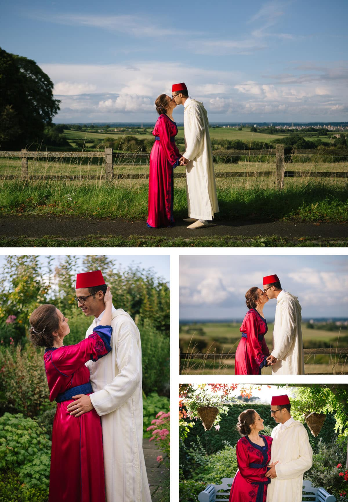 Collage of images of couple's shots. Bride and groom in traditional Moroccan dress - bride wears red silk