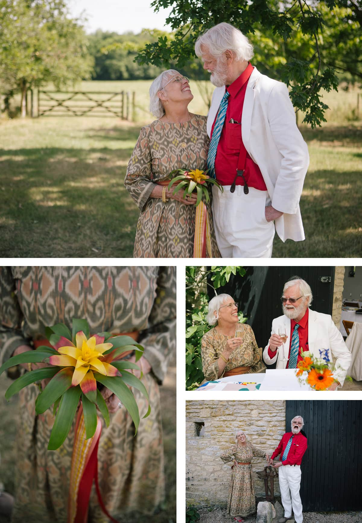 Collage of images of bride and groom together at their artistic safari themed wedding
