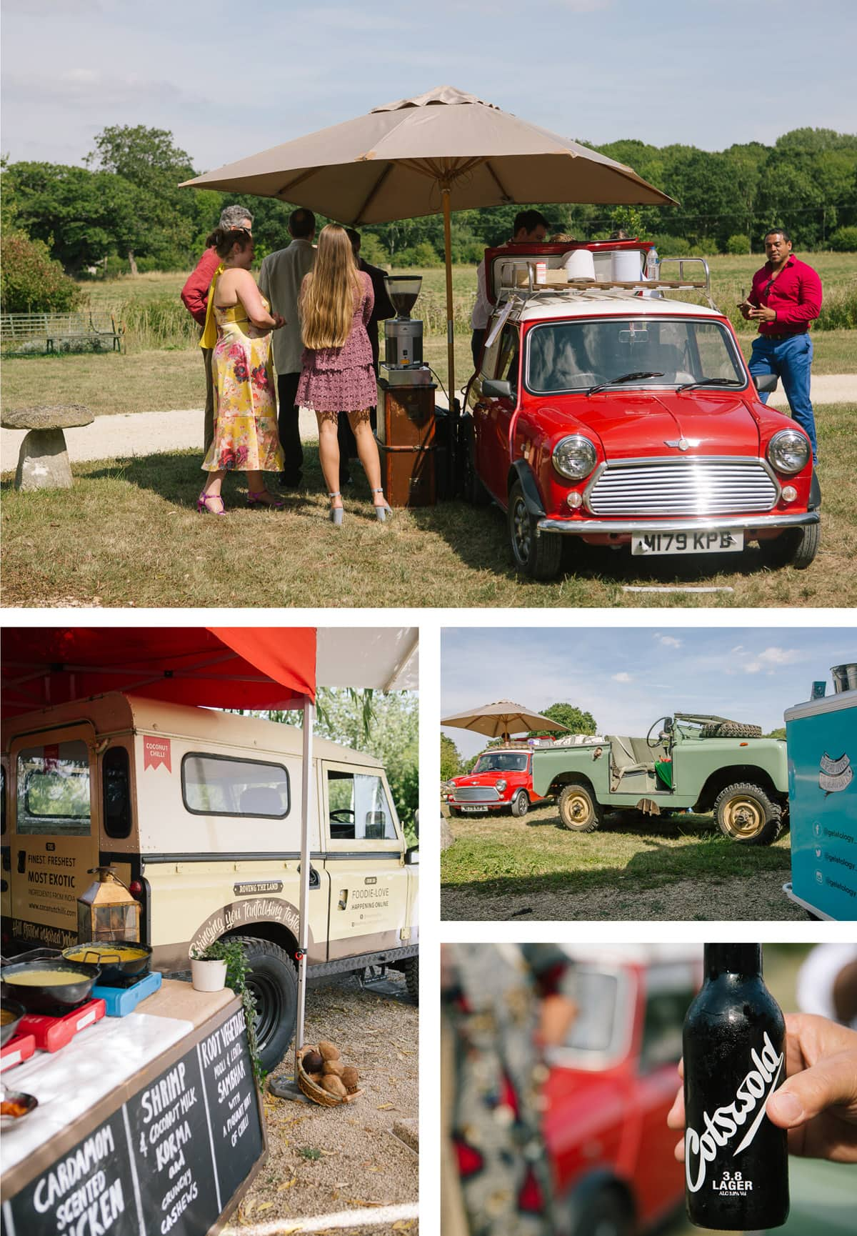 Collage of images of food trucks at this safari themed wedding in Oxfordshire