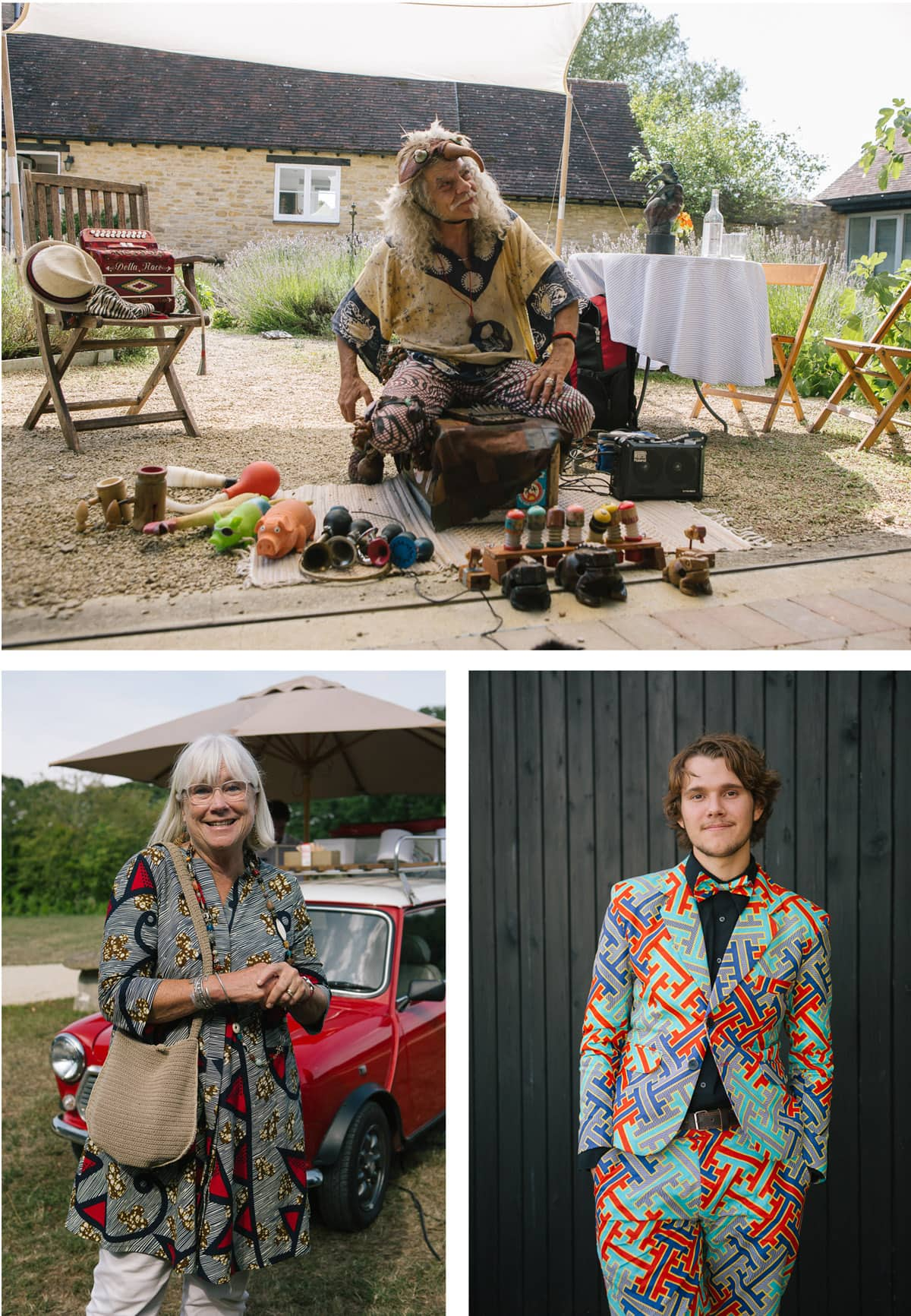 Collage of images from a safari-themed wedding. From the top: The Birdman prepares for his performance; young male guest wears brightly patterned suit; female guest in patterned dress at the food trucks