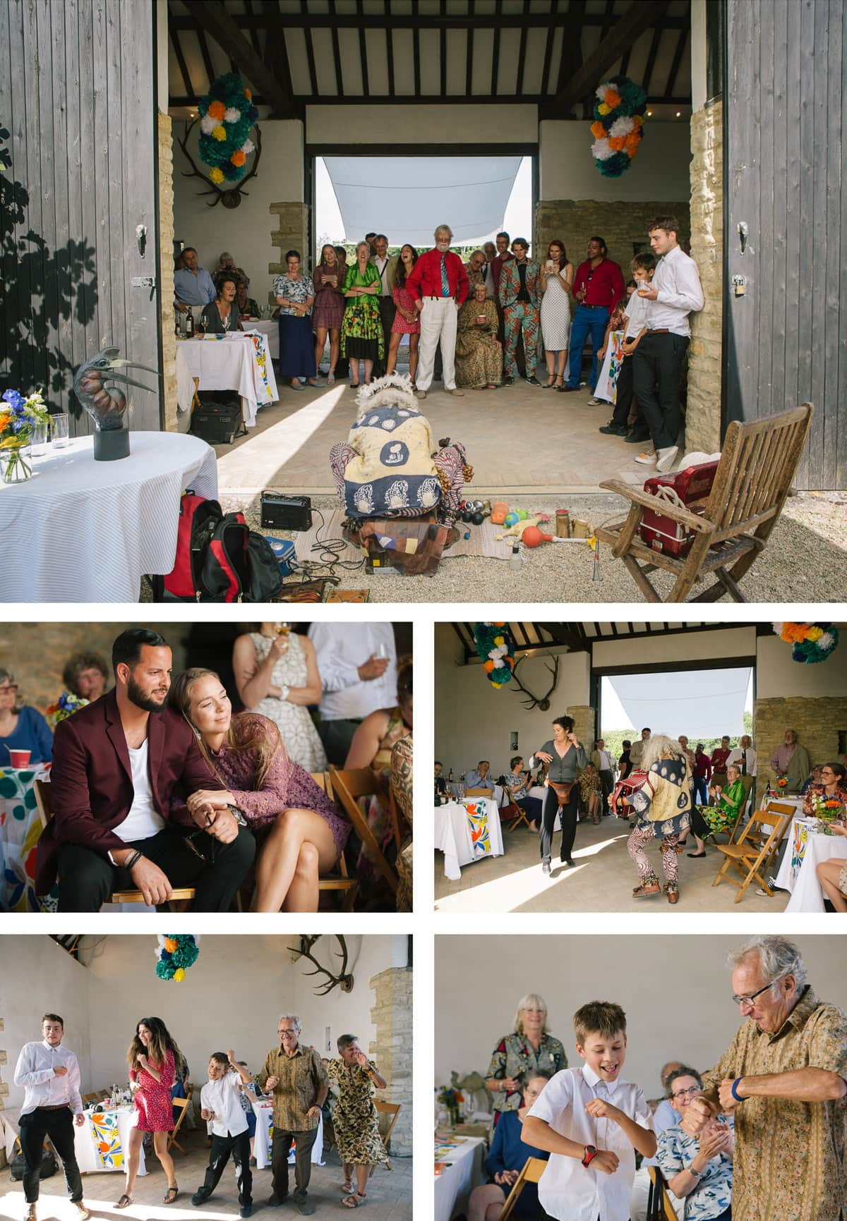 Collage of images of guests watching and dancing to the music of Italian street performer The Birdman