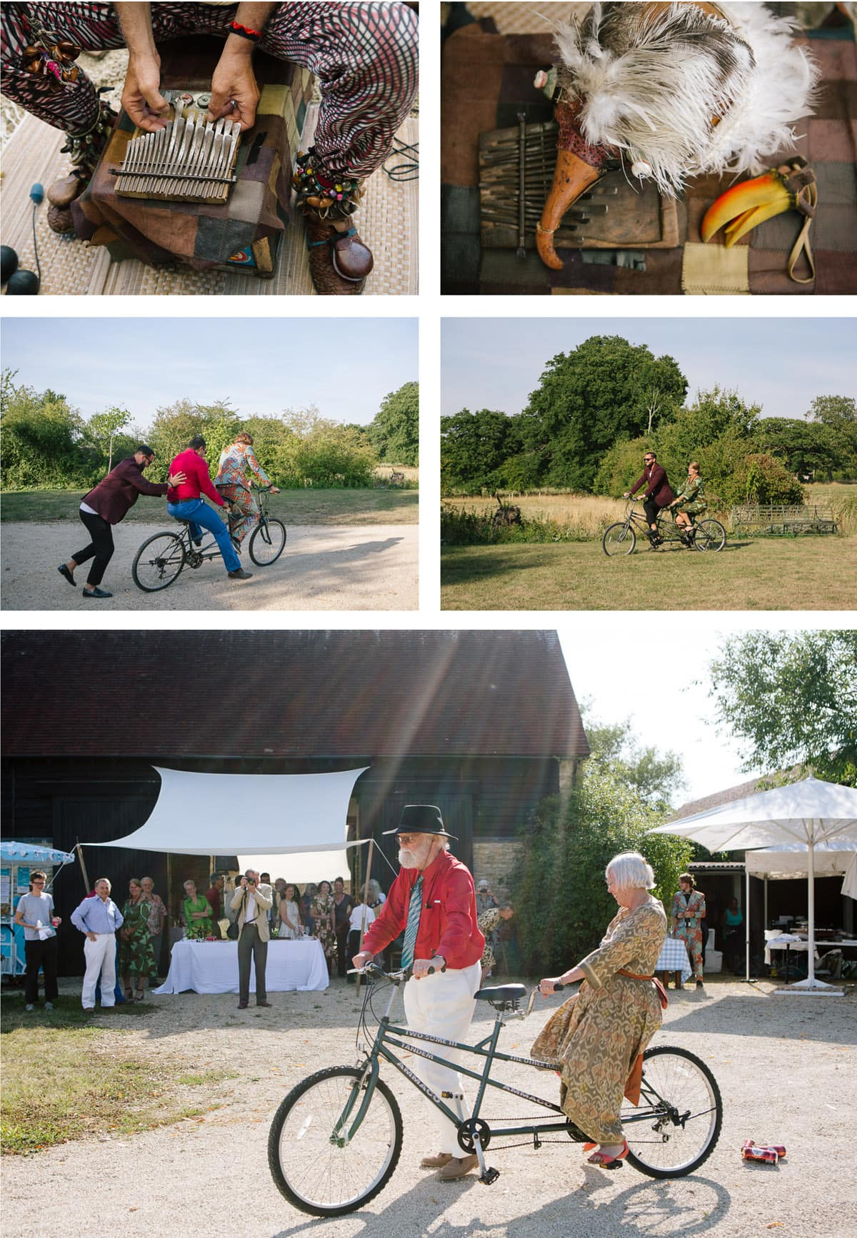 Collage of images of the Birdman playing and wedding guests larking about on a tandem