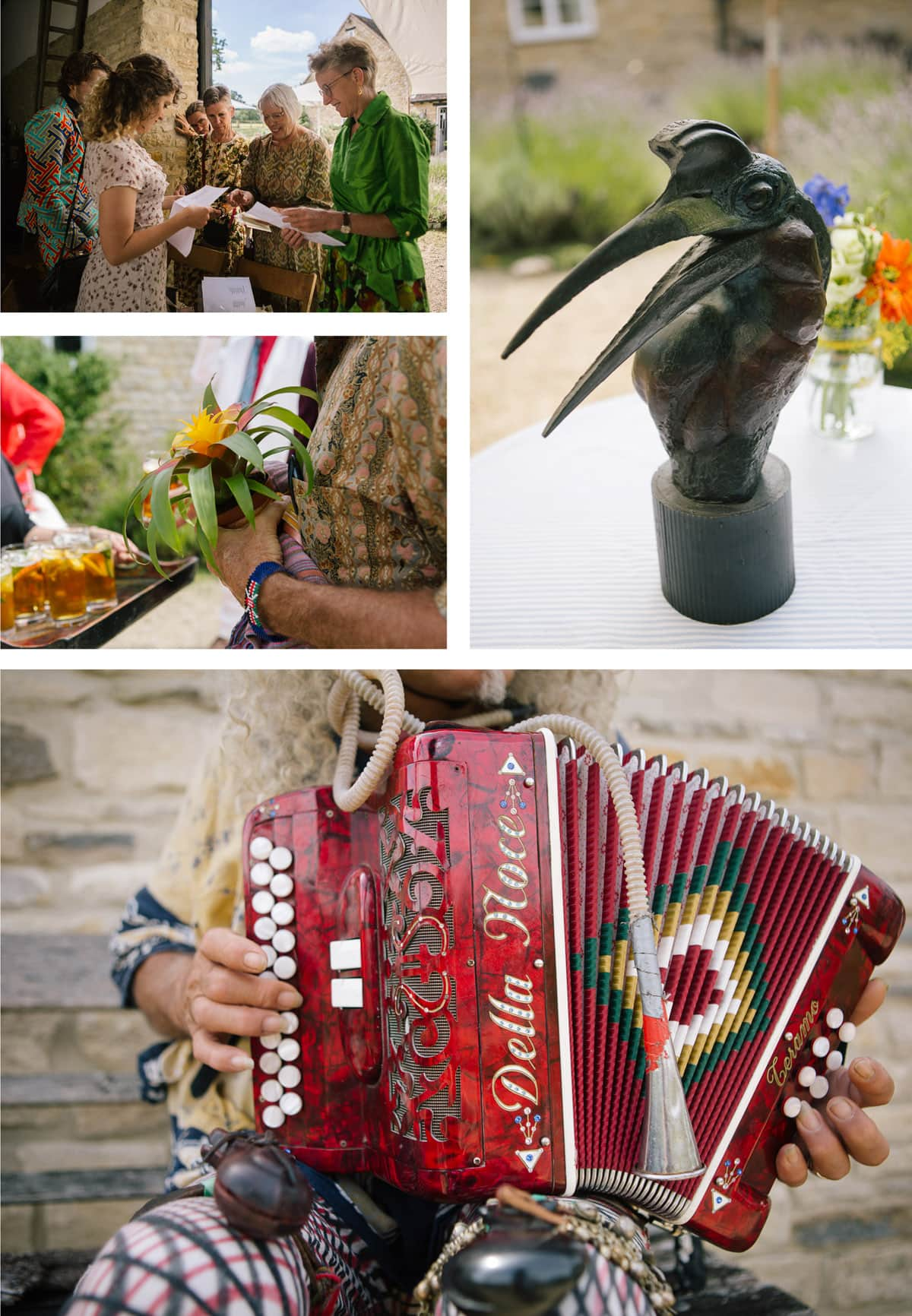 Collage of detail shots from safari-themed wedding. From top left: Guests greet bride, metal bird sculpture centrepiece made by the groom; bright red accordion played by Italian street musician; close up of bridal posy with tropical flowers and ferns