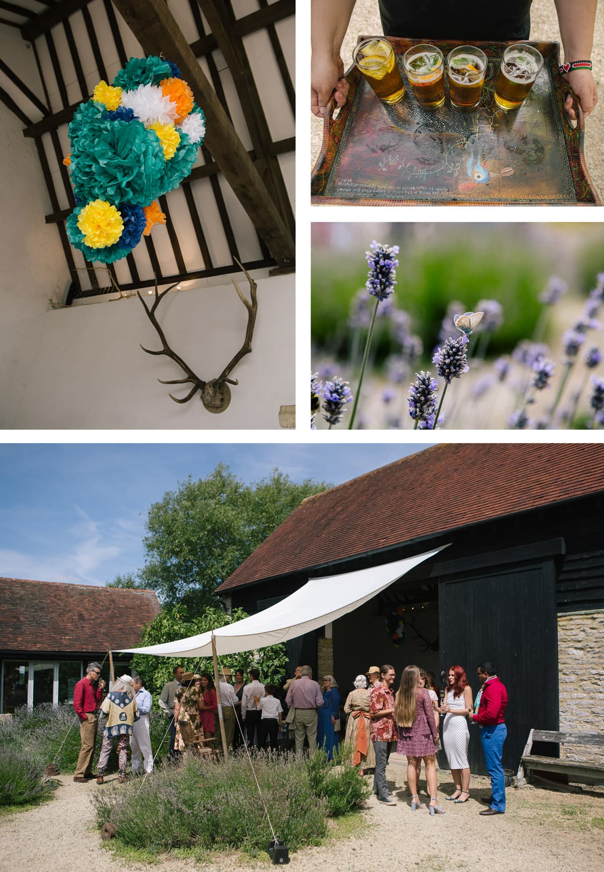 Collage of images from safari-themed wedding. From top left: Colourful pompoms and antlers in the barn; Pimms served on arrival; lavender with a butterfly on it; guests mingle under the awning at the barn