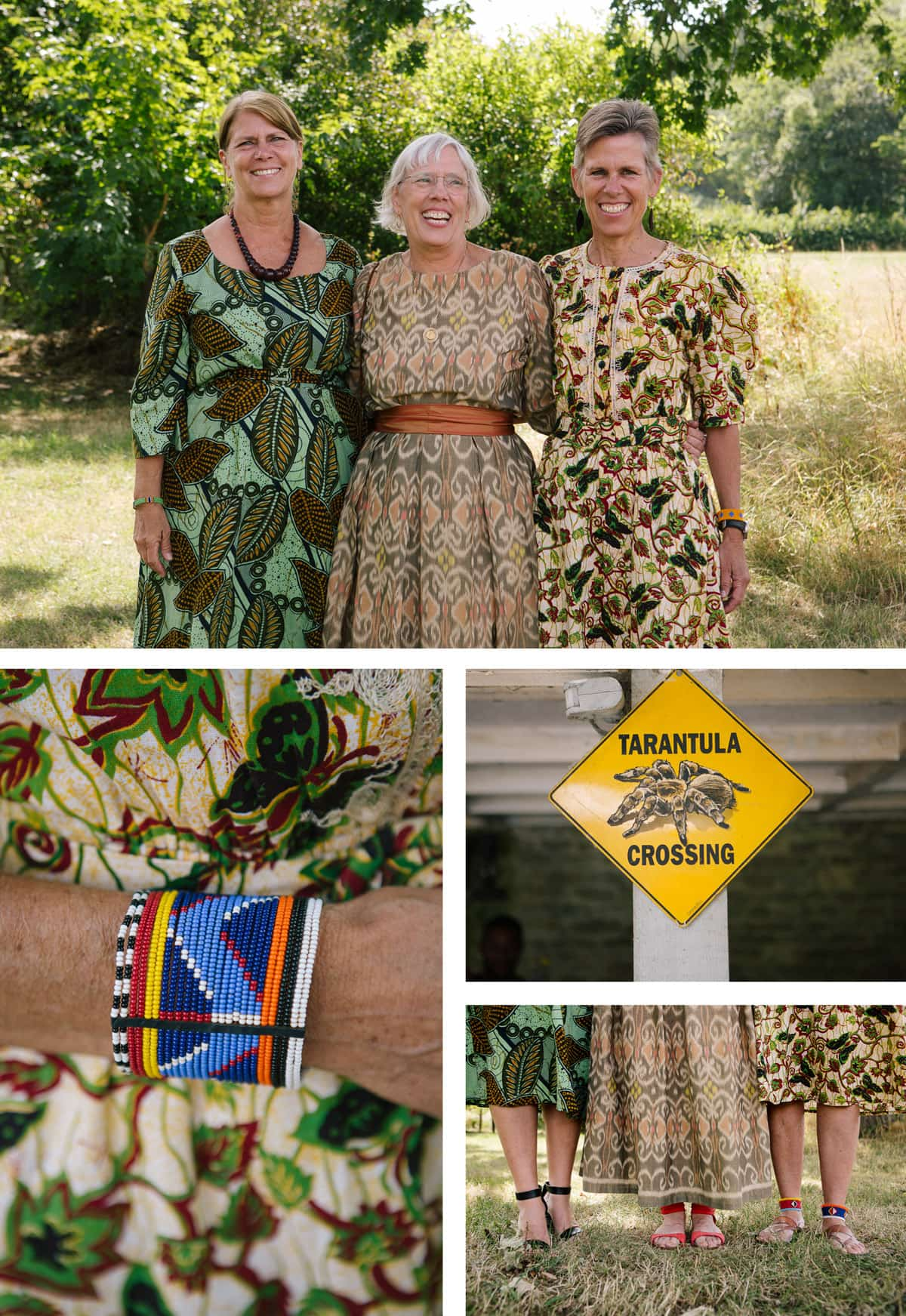 Collage of images from safari-themed wedding. From the top: Bride and guests in brightly patterned dresses; yellow 'tarantula crossing' sign; close up of the bottoms of guests' dresses; colourful African beaded bracelet