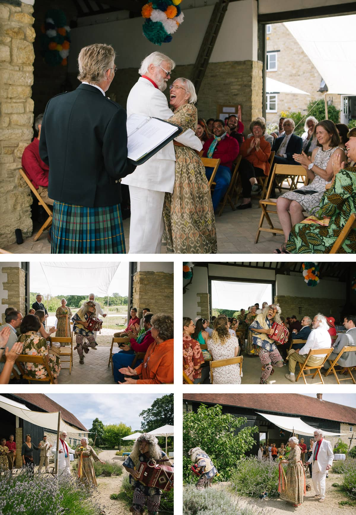 Collage of images of bride, groom and Italian street musician The Birdman, leading guests on a dance through the barn