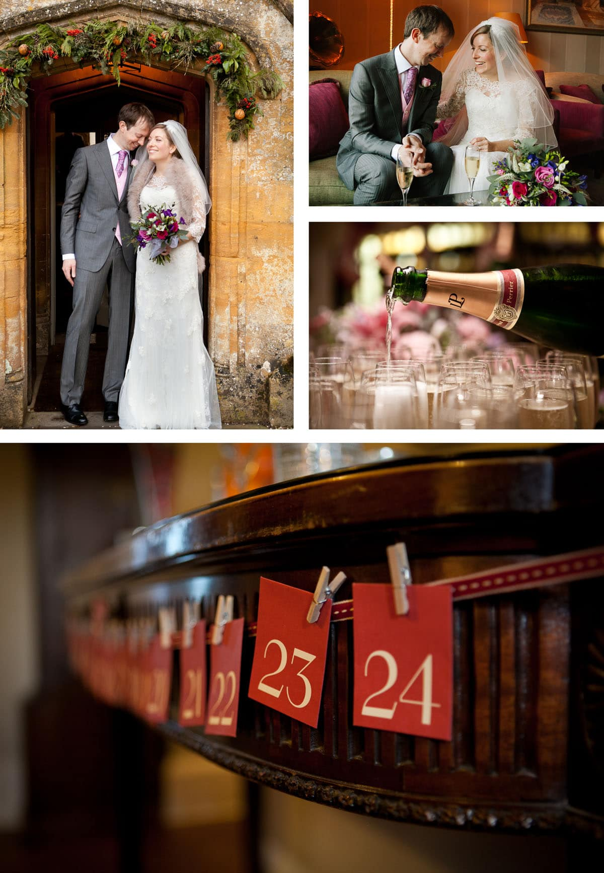 Collage of images of festive winter wedding details, champagne and red and gold colour scheme