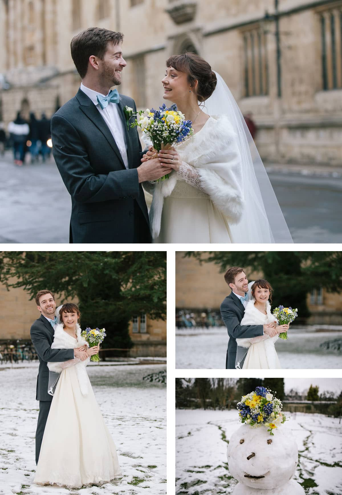 Collage of images of bride and groom in the snow at their winter wedding