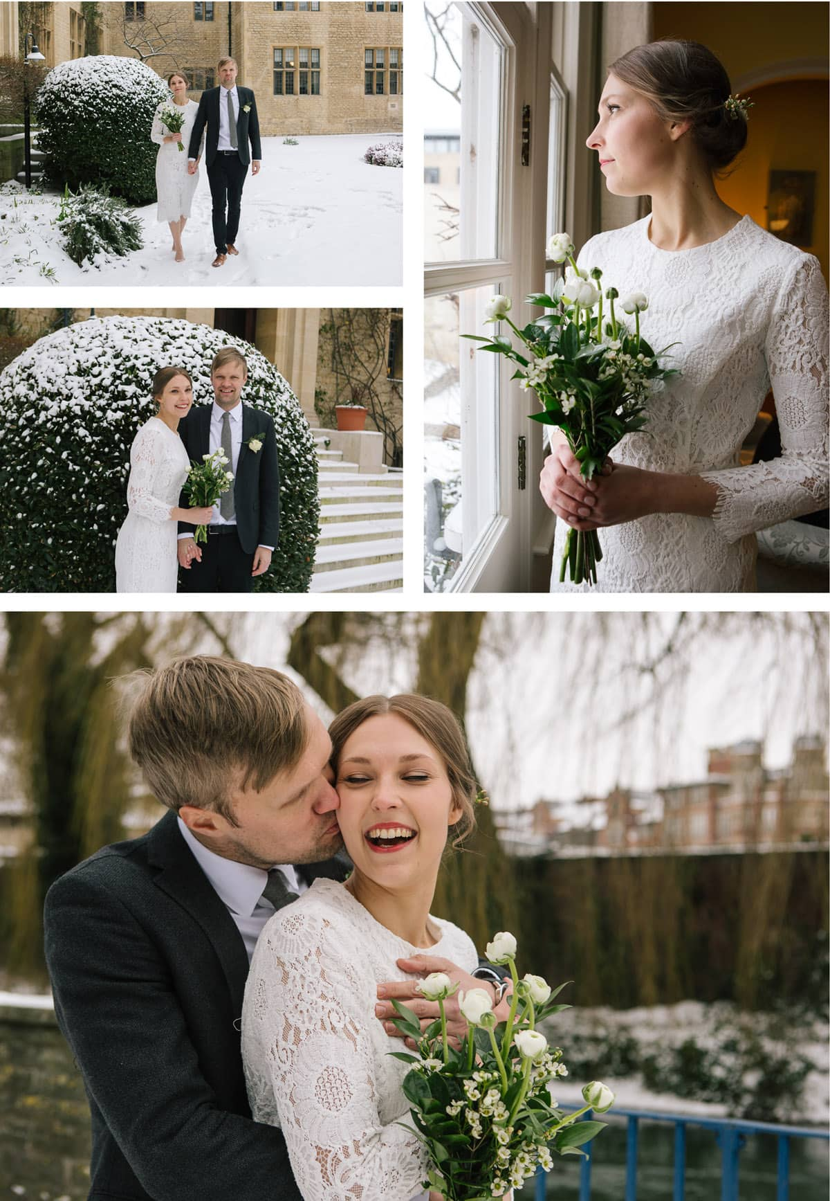 Collage of images of bride and groom at winter wedding in the snow