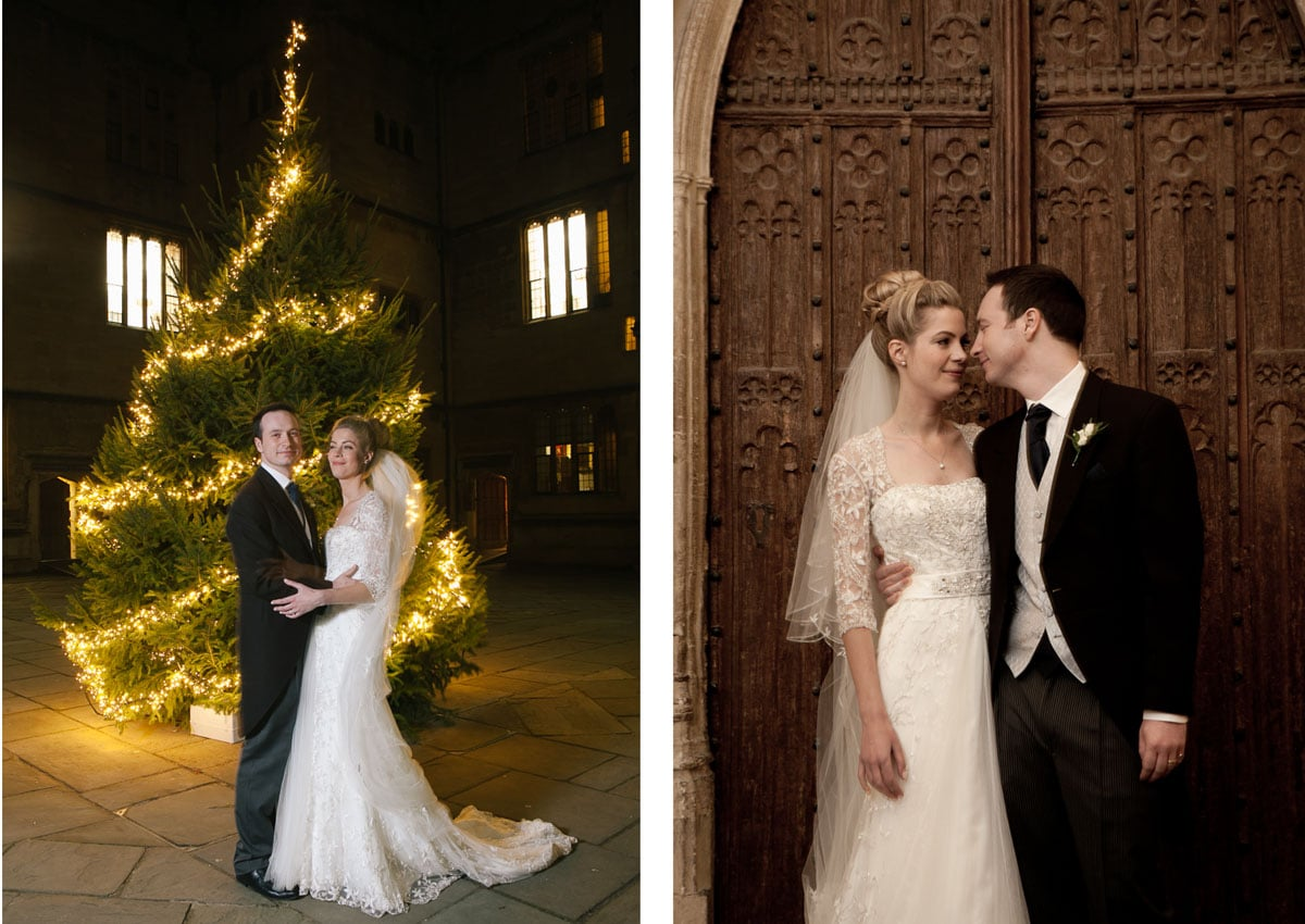 Two images of bride and groom at their winter wedding, in front of large Christmas tree and carved wooden door