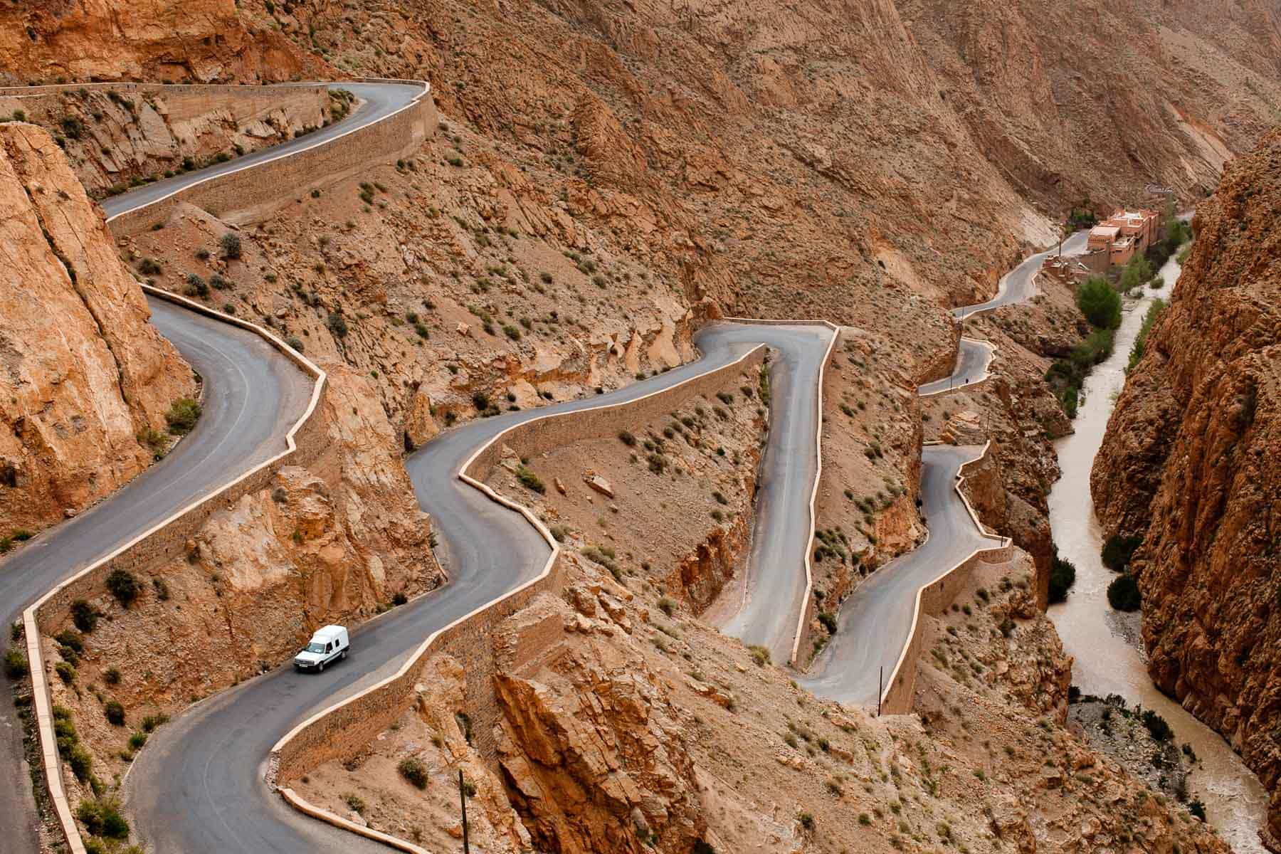 Winding road in Moroccan mountains