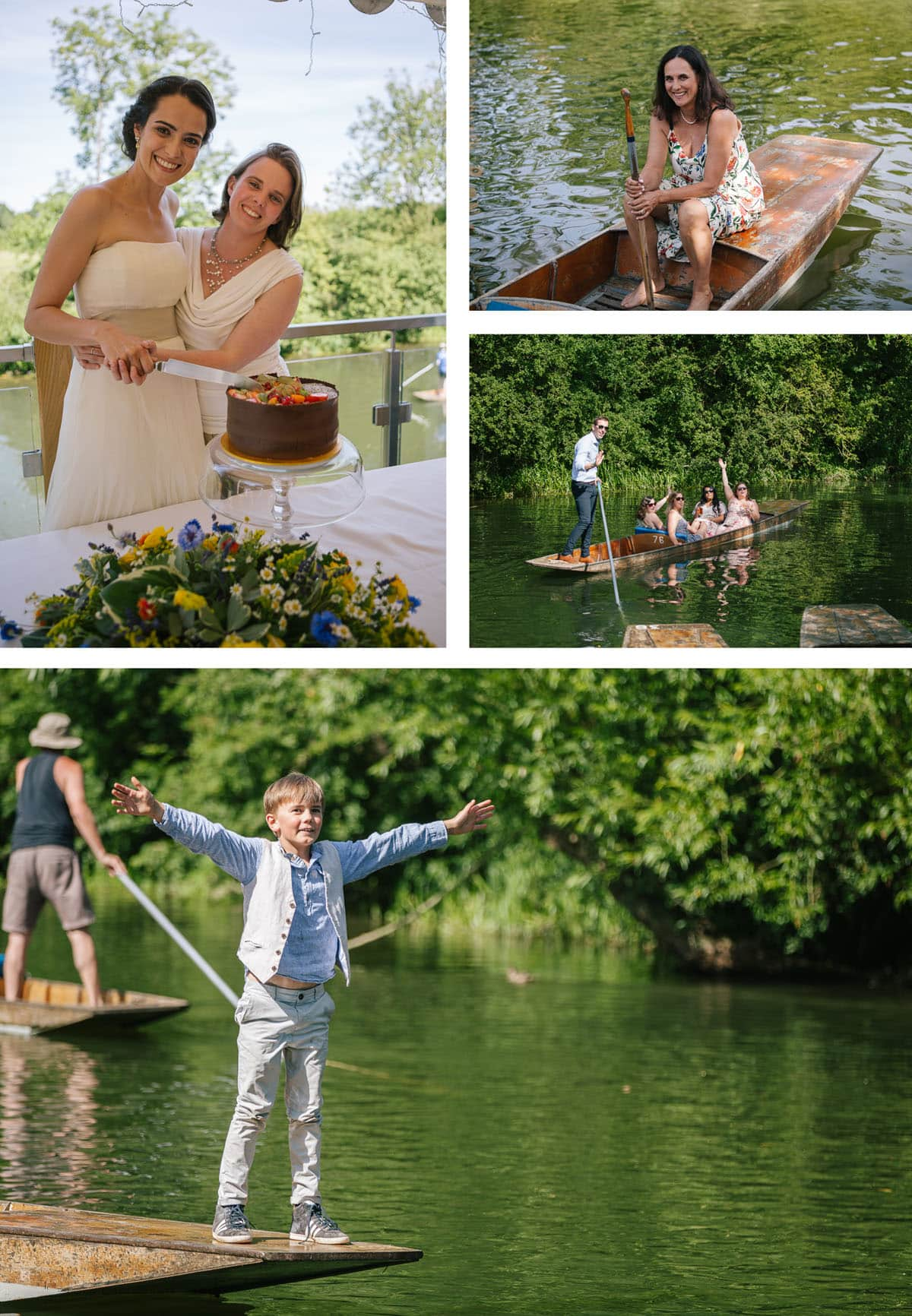 Collage of images at Cherwell Boathouse wedding party. Brides cutting chocolate cake, guests in punts.