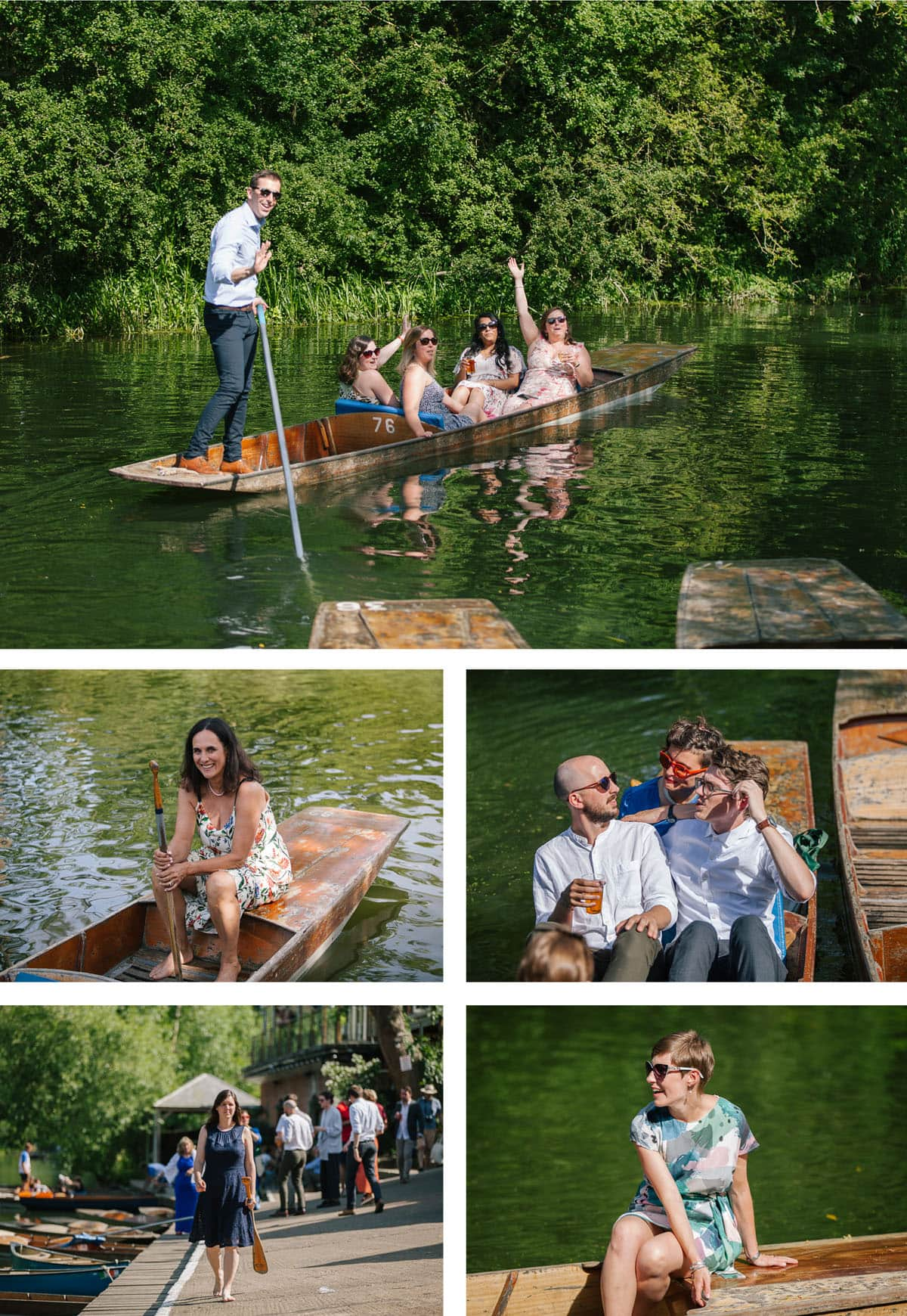 Guests messing about in boats as they punt along the river to the Cherwell Boathouse for a wedding party