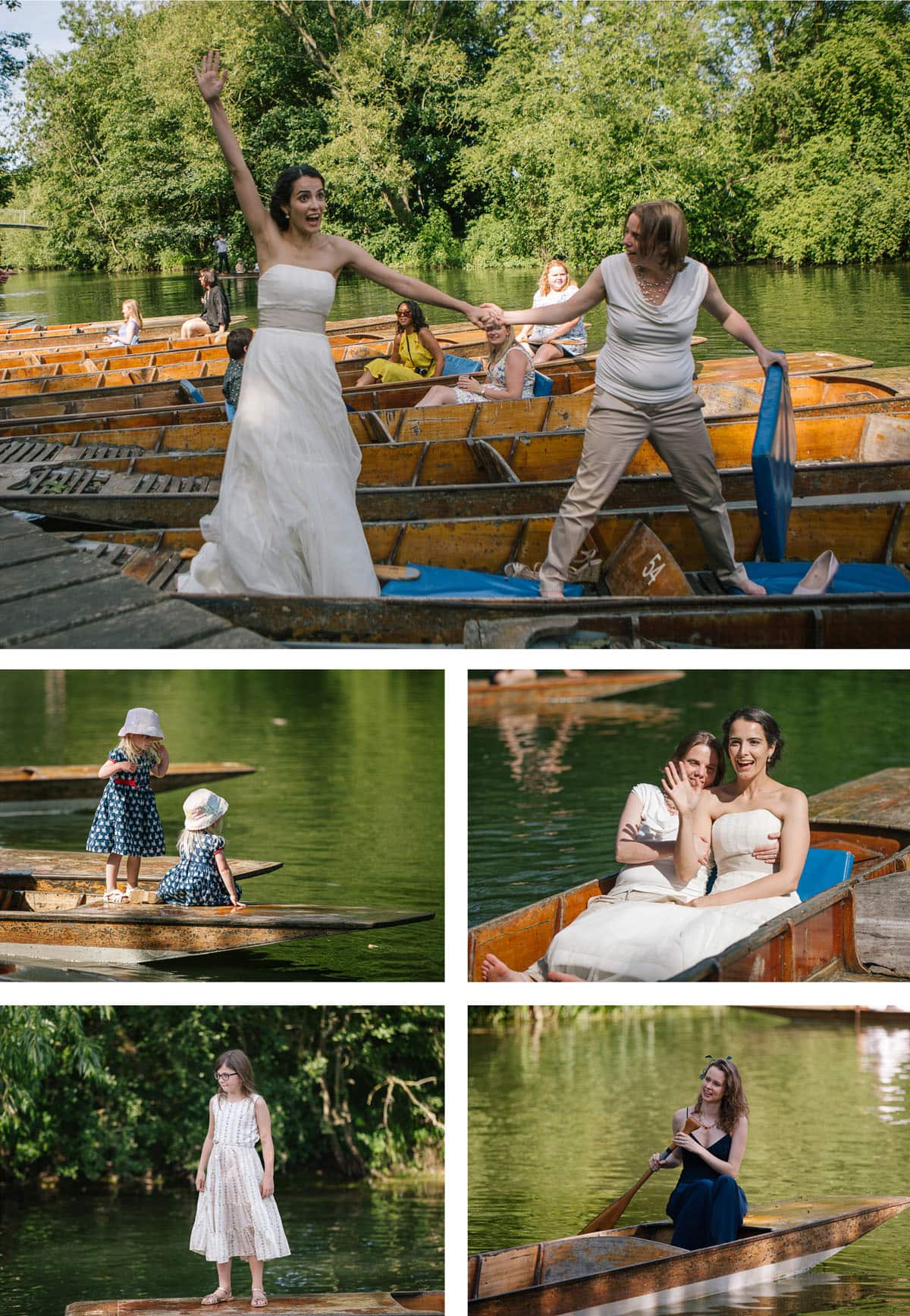 Collage of images of brides and guests having fun on the punts at their Cherwell Boathouse wedding reception
