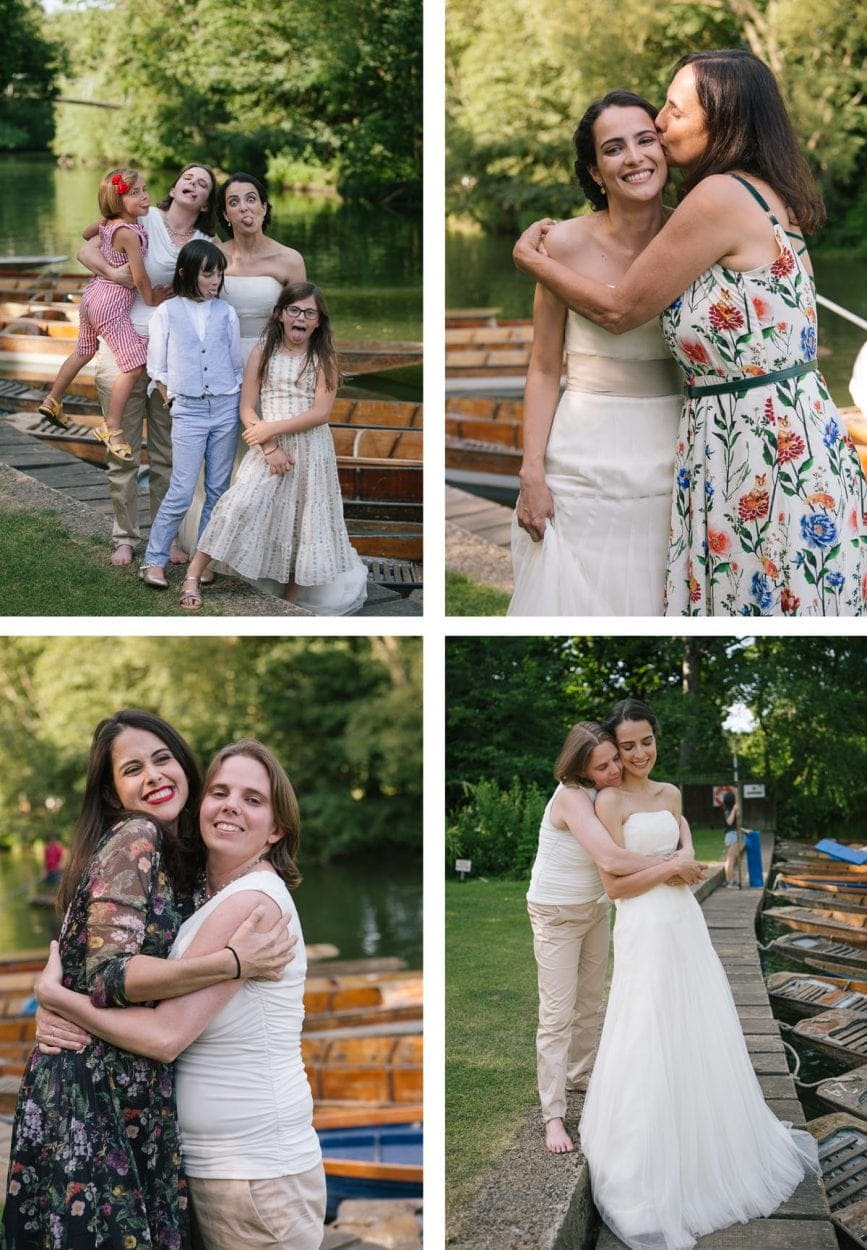 Collage of images showing guests embracing at Cherwell Boathouse wedding reception