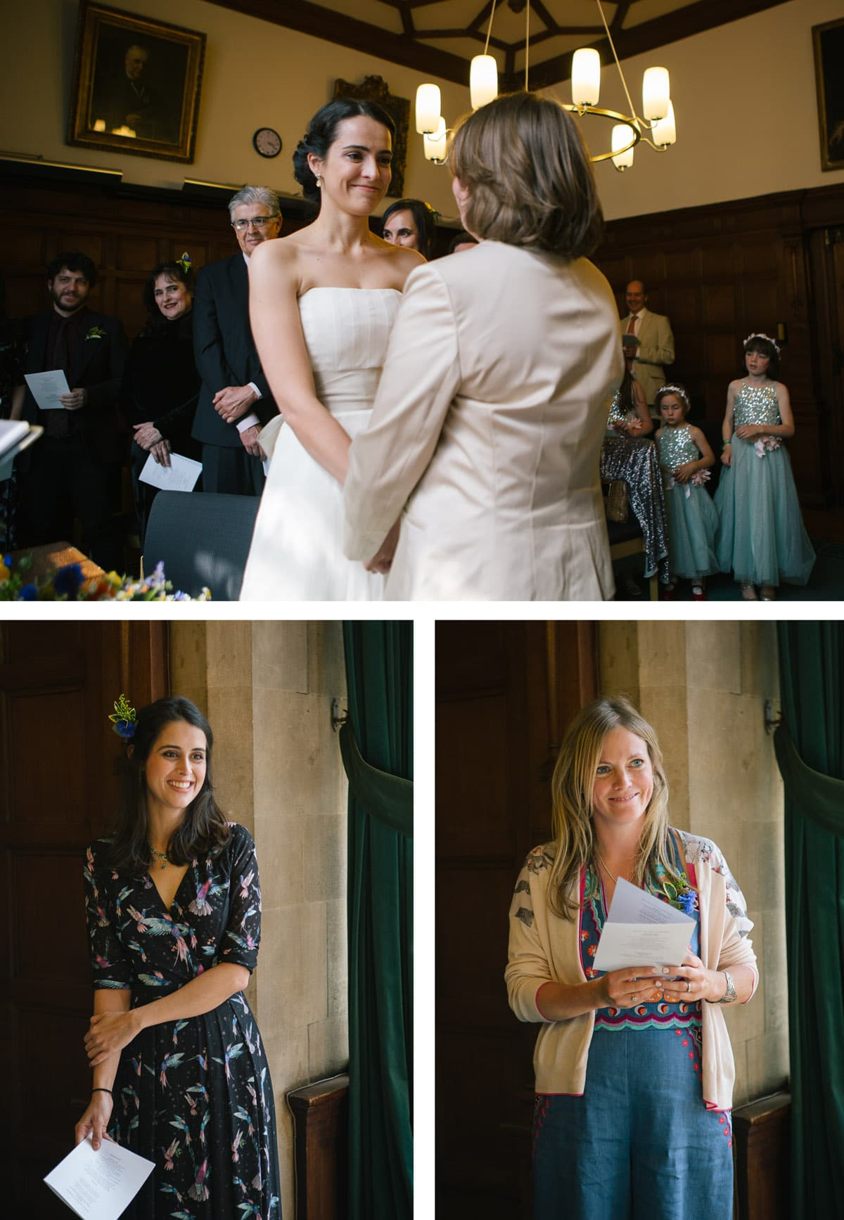 Same sex wedding ceremony and readings at Oxford Town Hall