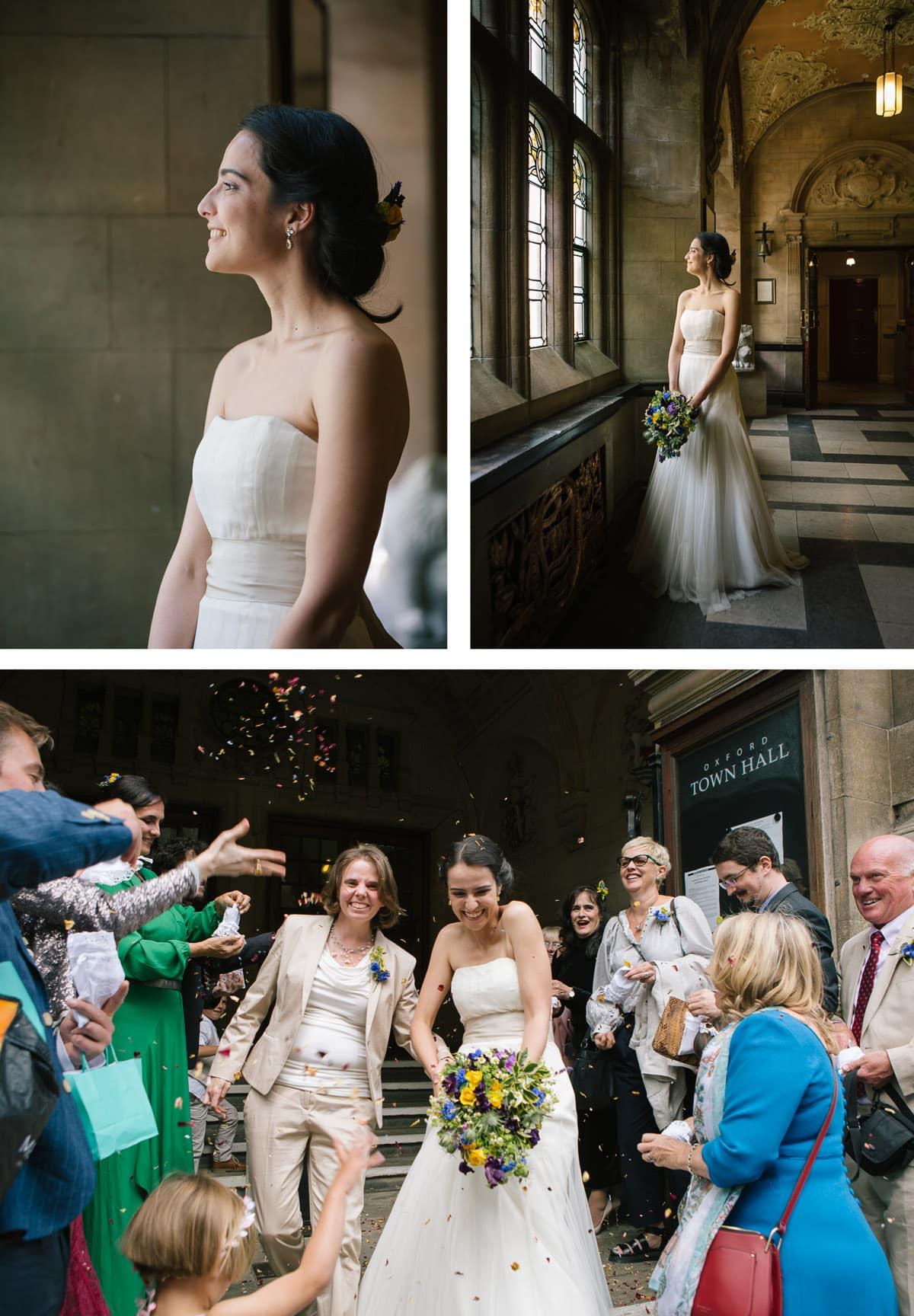 Bridal portraits and confetti shot at Oxford Town Hall