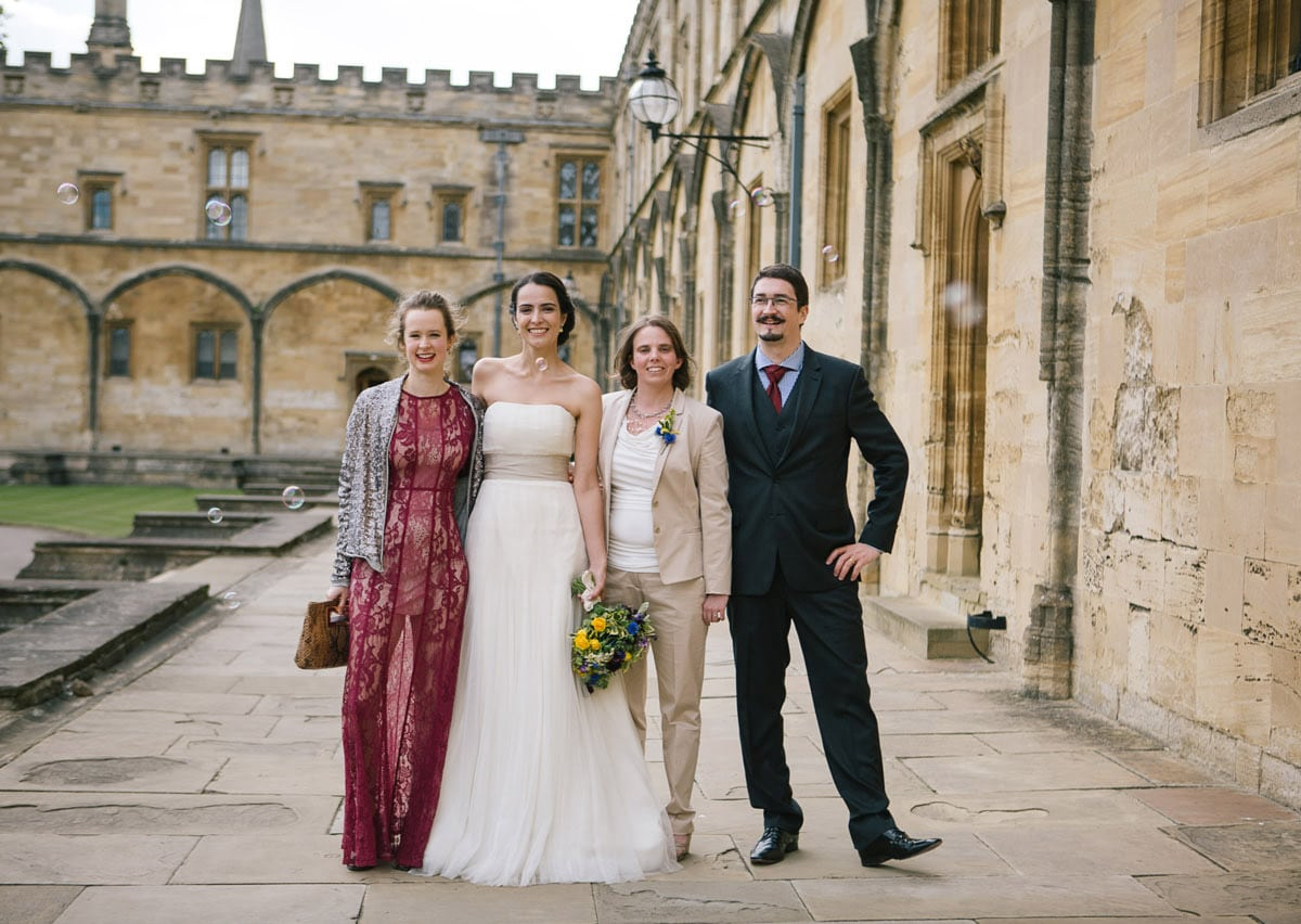 Brides and bridal party at Christchurch College