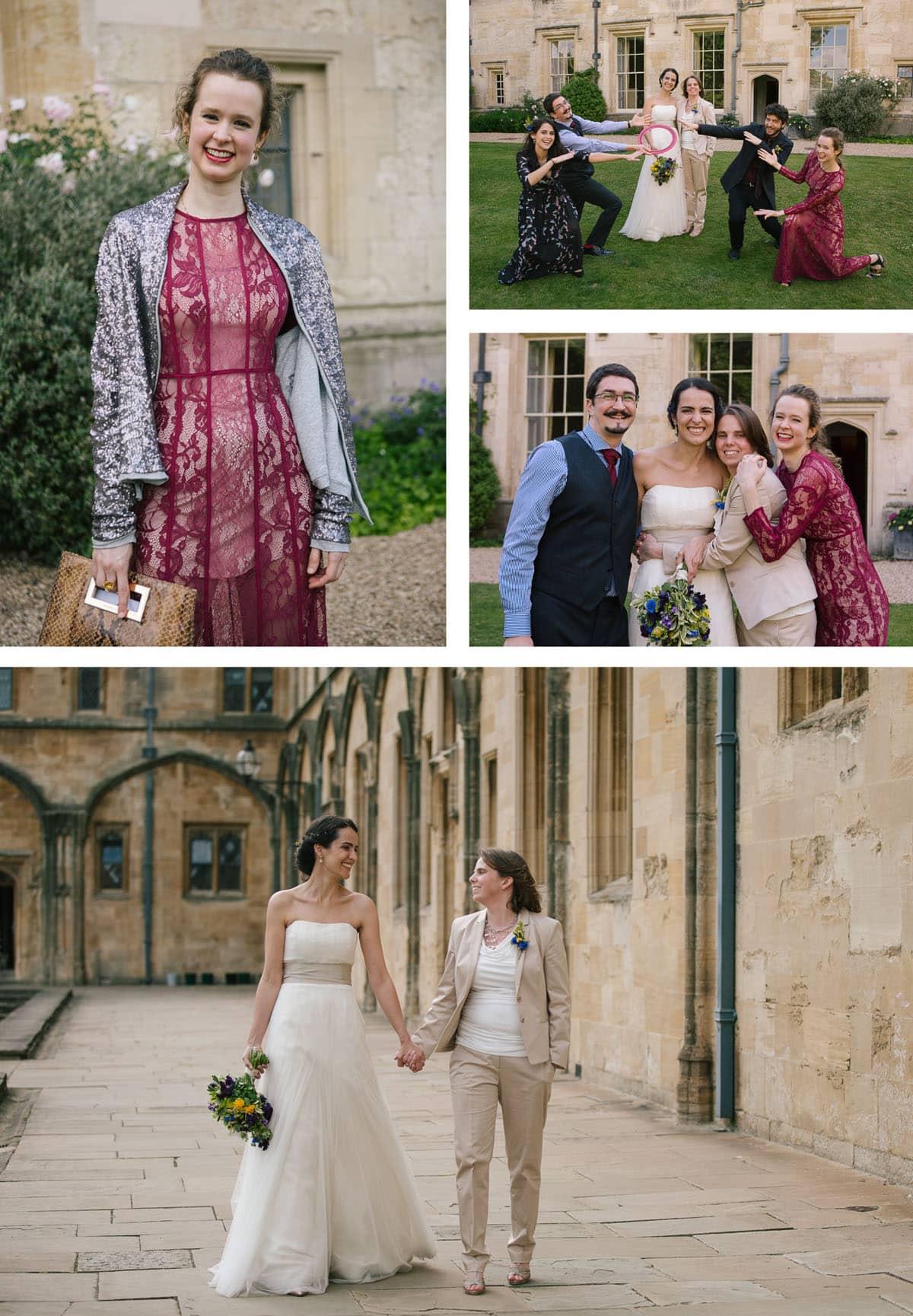 Fun family photos at same sex wedding in Oxford Christchurch College