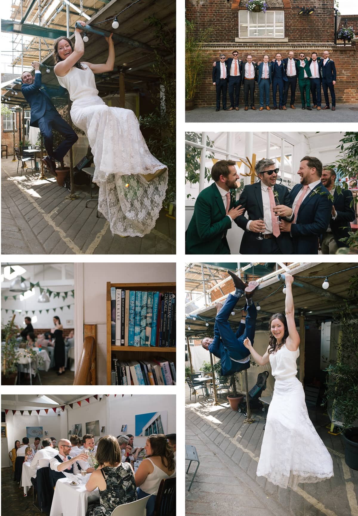 Collage of guests relaxing at wedding party. Bride and groom climb on beams outside venue.