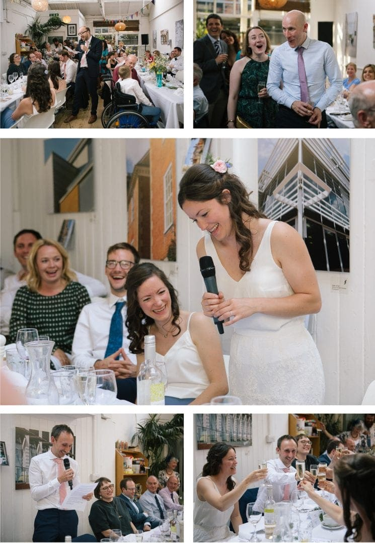 Bride and groom speeches at the Jam Factory