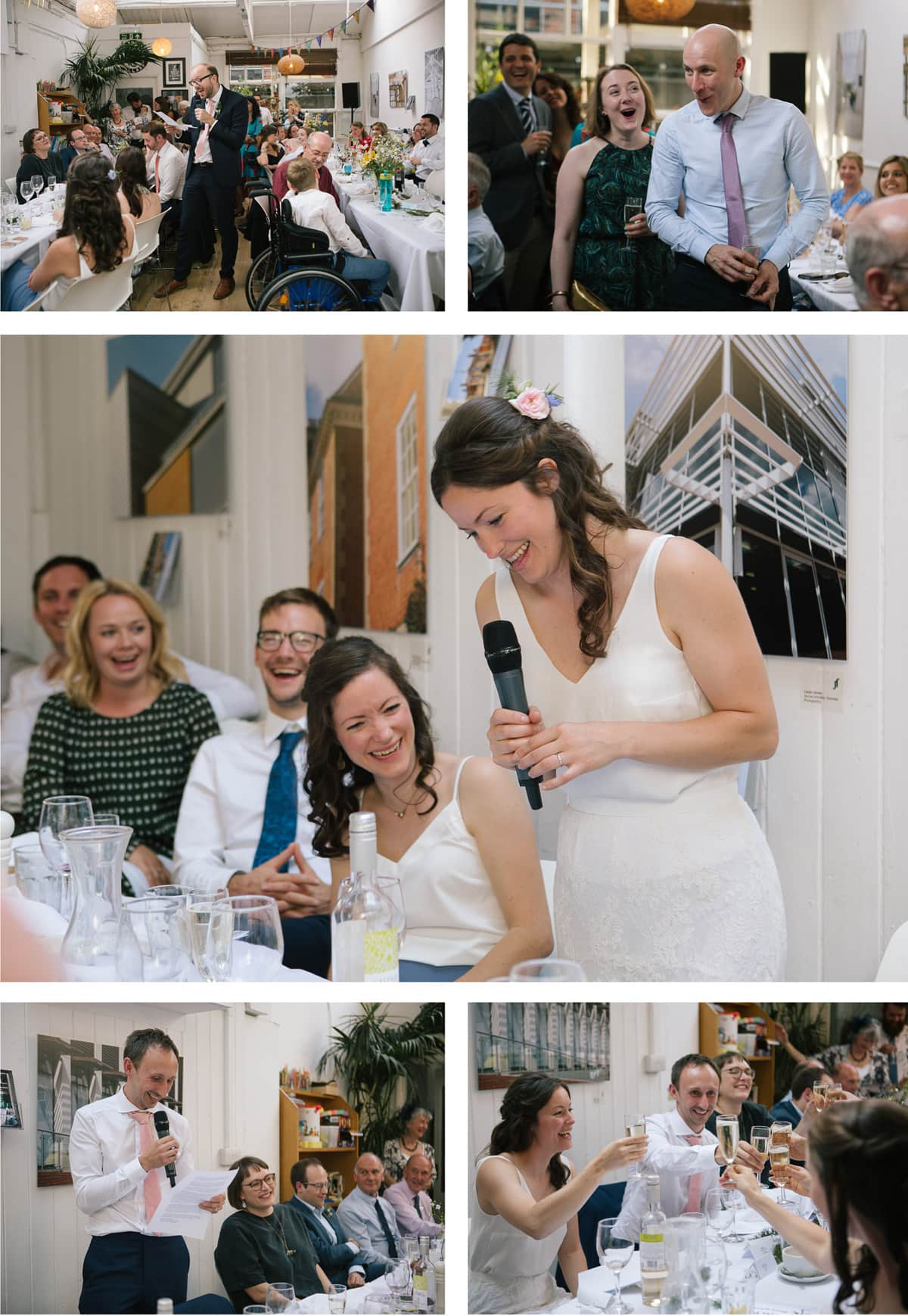 Collage of images of the wedding speeches at The Jam Factory, Oxford.