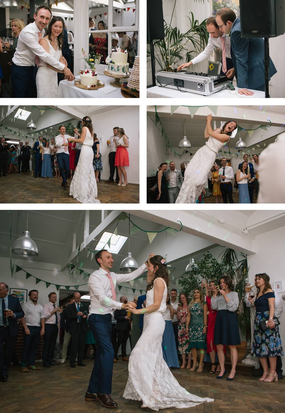 Collage of images of wedding party at The Jam Factory: cutting the cake, DJing and hitting the dance floor.