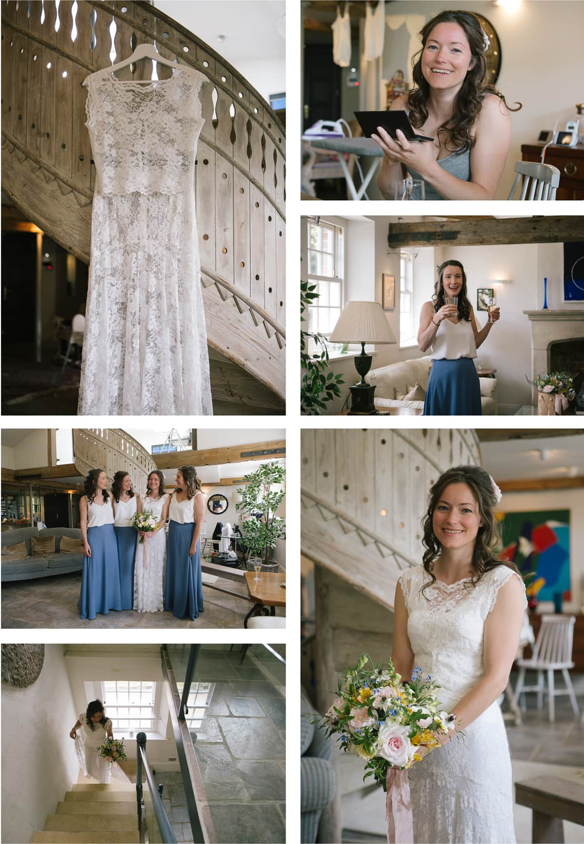 Collage of images of bride getting ready with bridesmaids. She wears a Charlie Brear dress, and bridesmaids are in white and blue separates.