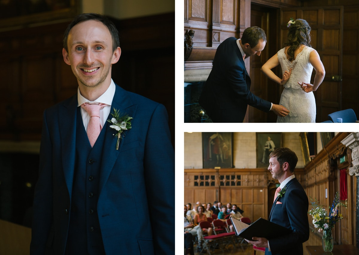 Collage of images of wedding ceremony at Oxford town hall. Groom wears blue suit.