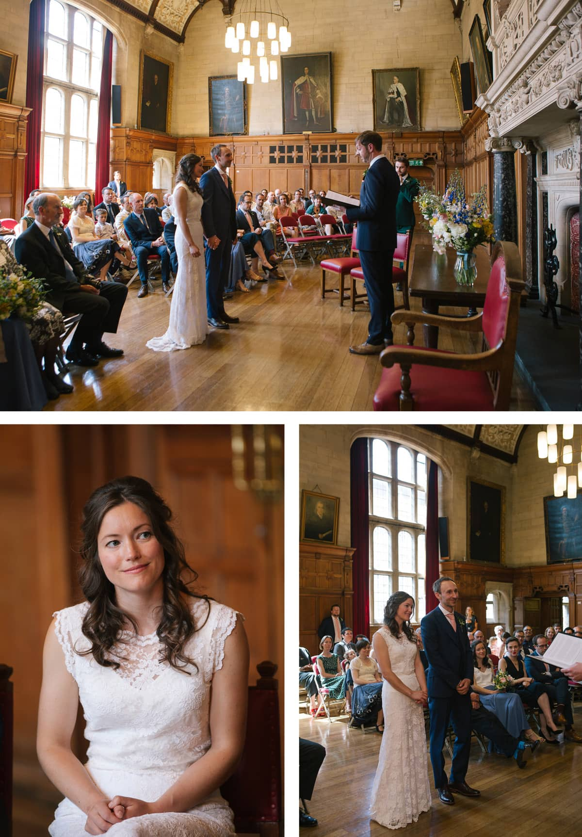 Wedding ceremony at Oxford Town Hall, led by a friend of the couple.