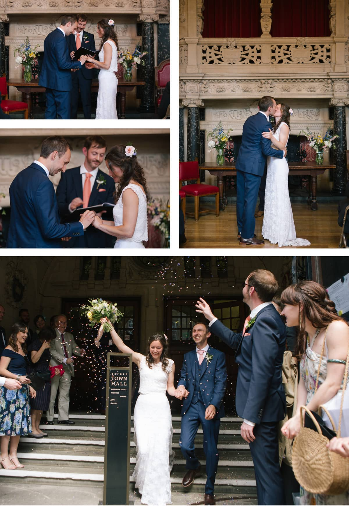 Collage of images of end of wedding ceremony: first kiss, exchange of rings, confetti on the front steps
