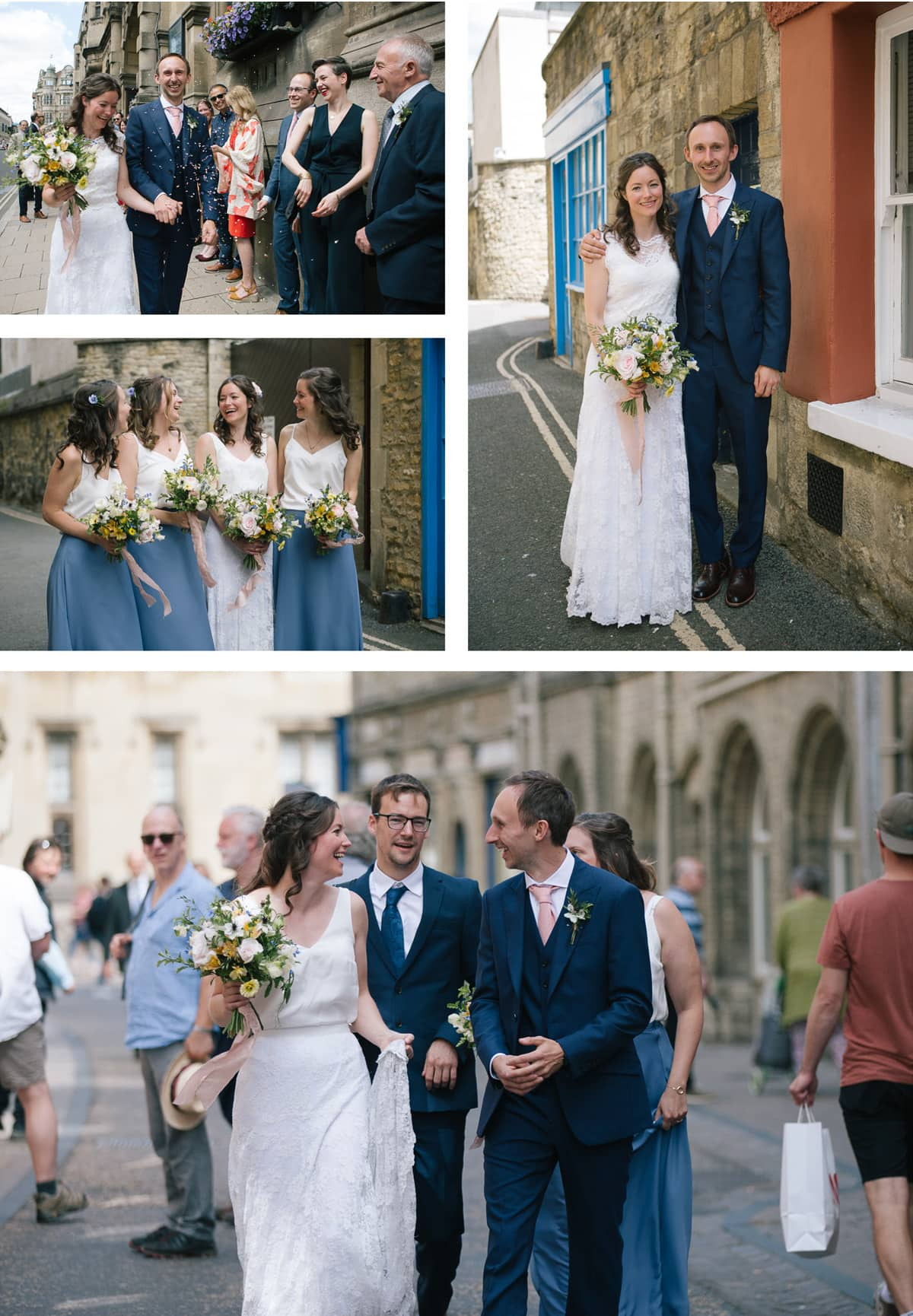 Bride, groom and guests walk through Oxford city centre