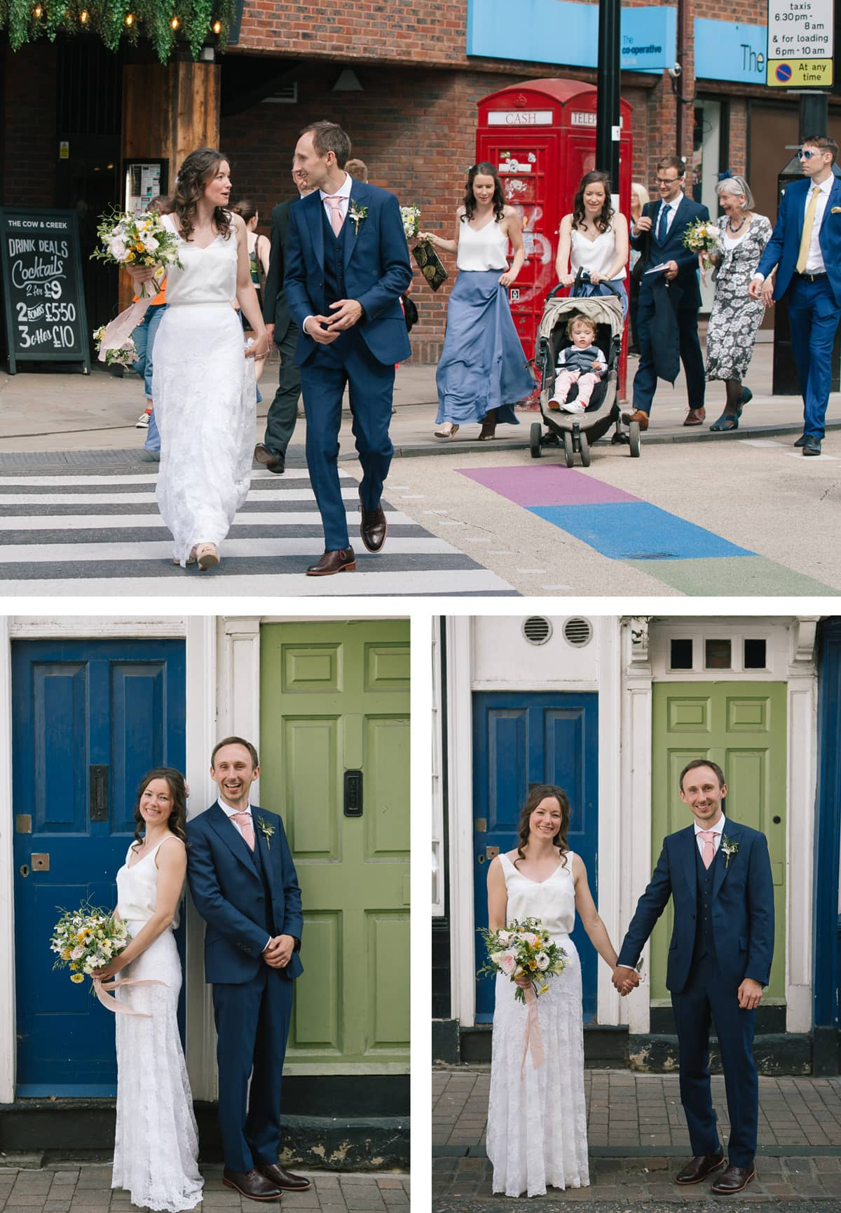 Bride and groom in front of green and blue doors