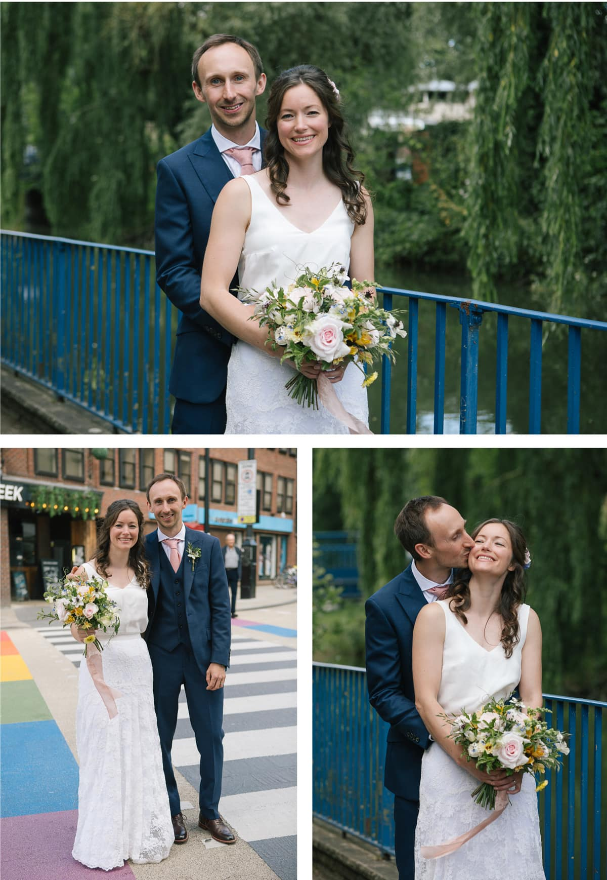 Couple's portraits on a bridge with blue railings by the river