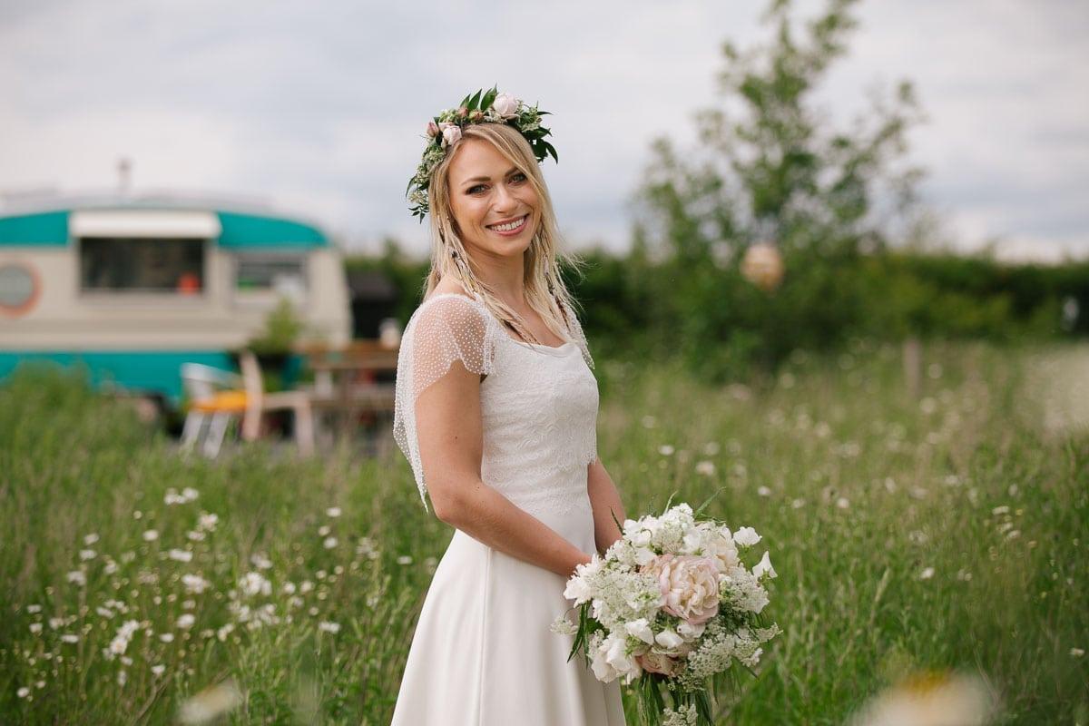 Boho bride in a Maudika Bridal Dress