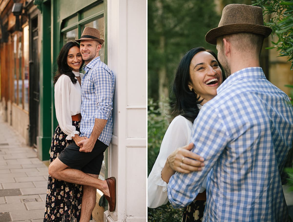 A diptych of a romantic couple in front of a green background in Oxford
