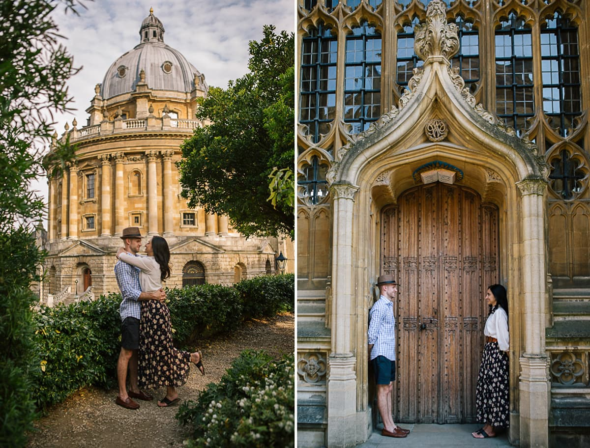 A diptych of a couple in front of the Radcliffe Camera in Oxford
