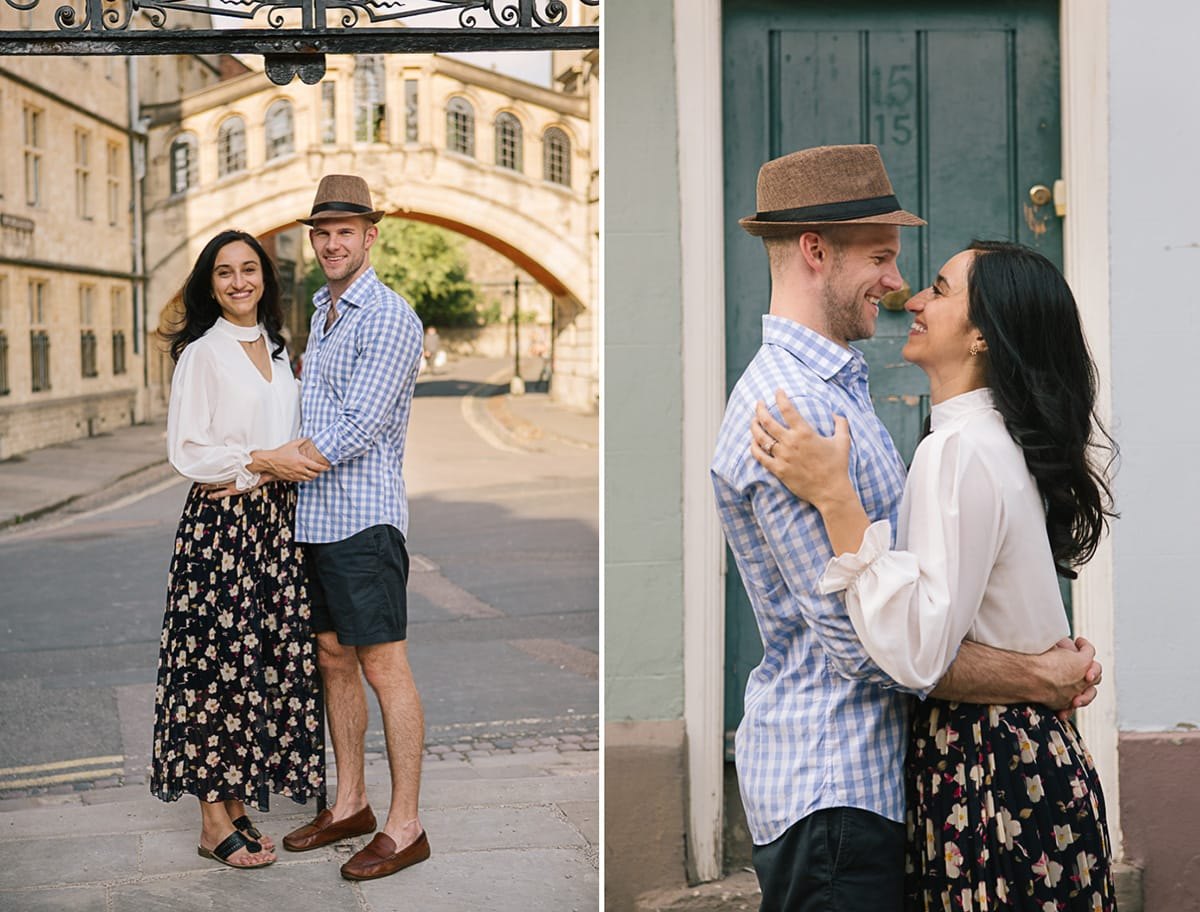 A diptych of a couple in Oxford in front of the Bridge of Sighs