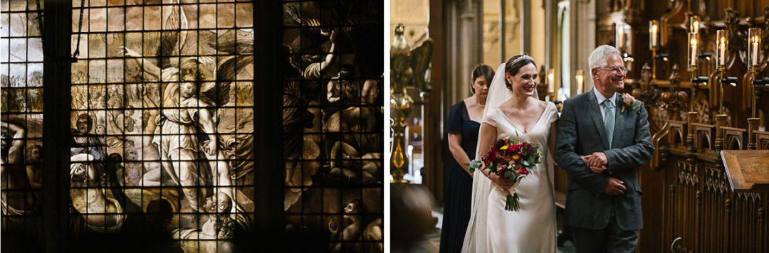 bride walks down aisle at Magdalen College Oxford chapel